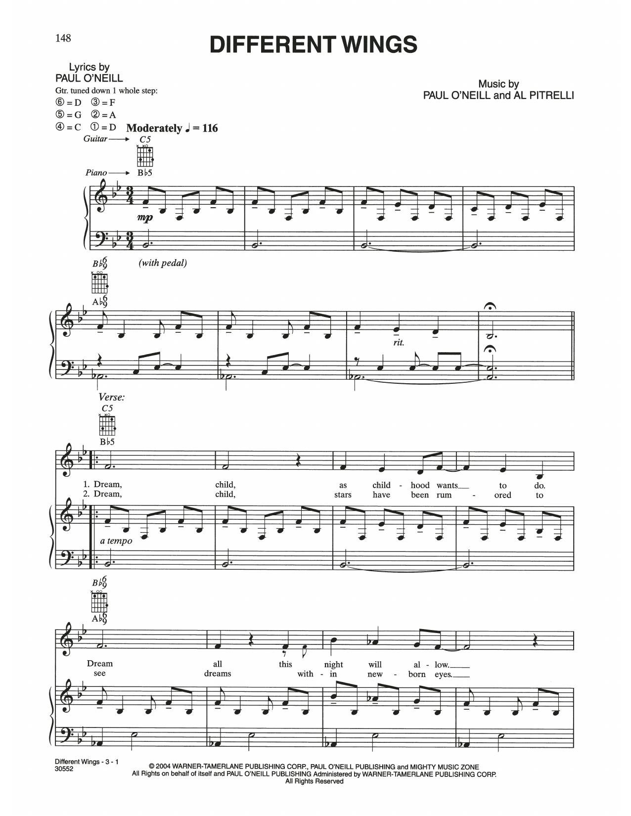 Different Wings (Piano, Vocal & Guitar (Right-Hand Melody))