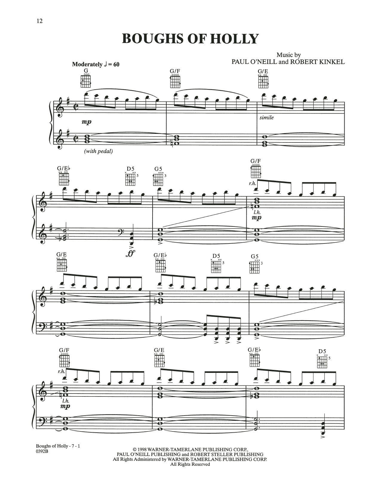 Boughs Of Holly (Piano Solo)
