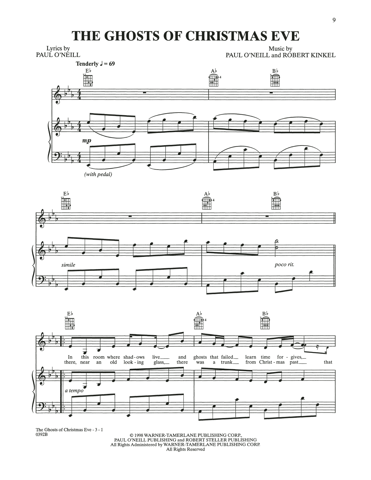 The Ghosts Of Christmas Eve (Piano, Vocal & Guitar (Right-Hand Melody))