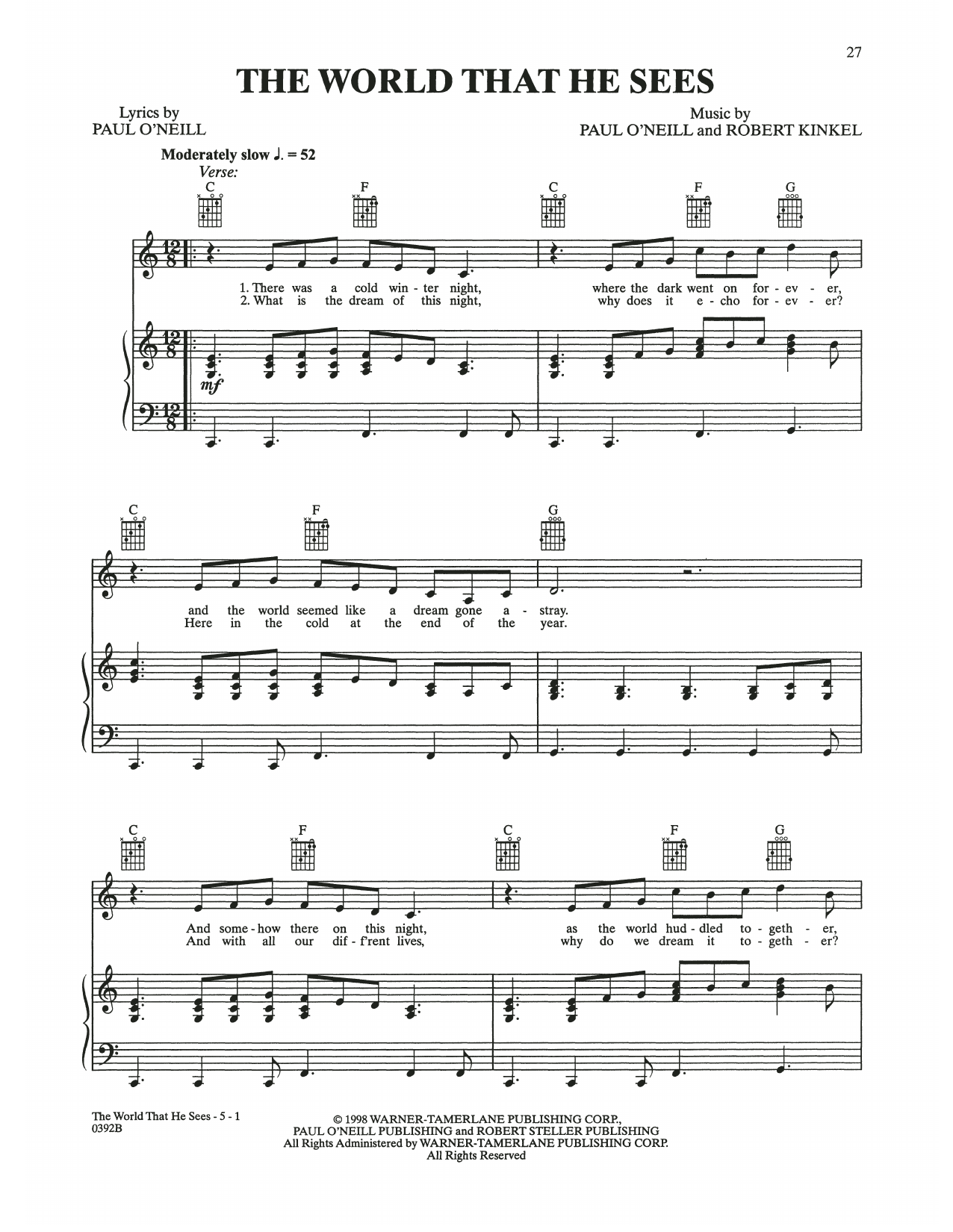The World That He Sees (Piano, Vocal & Guitar (Right-Hand Melody))