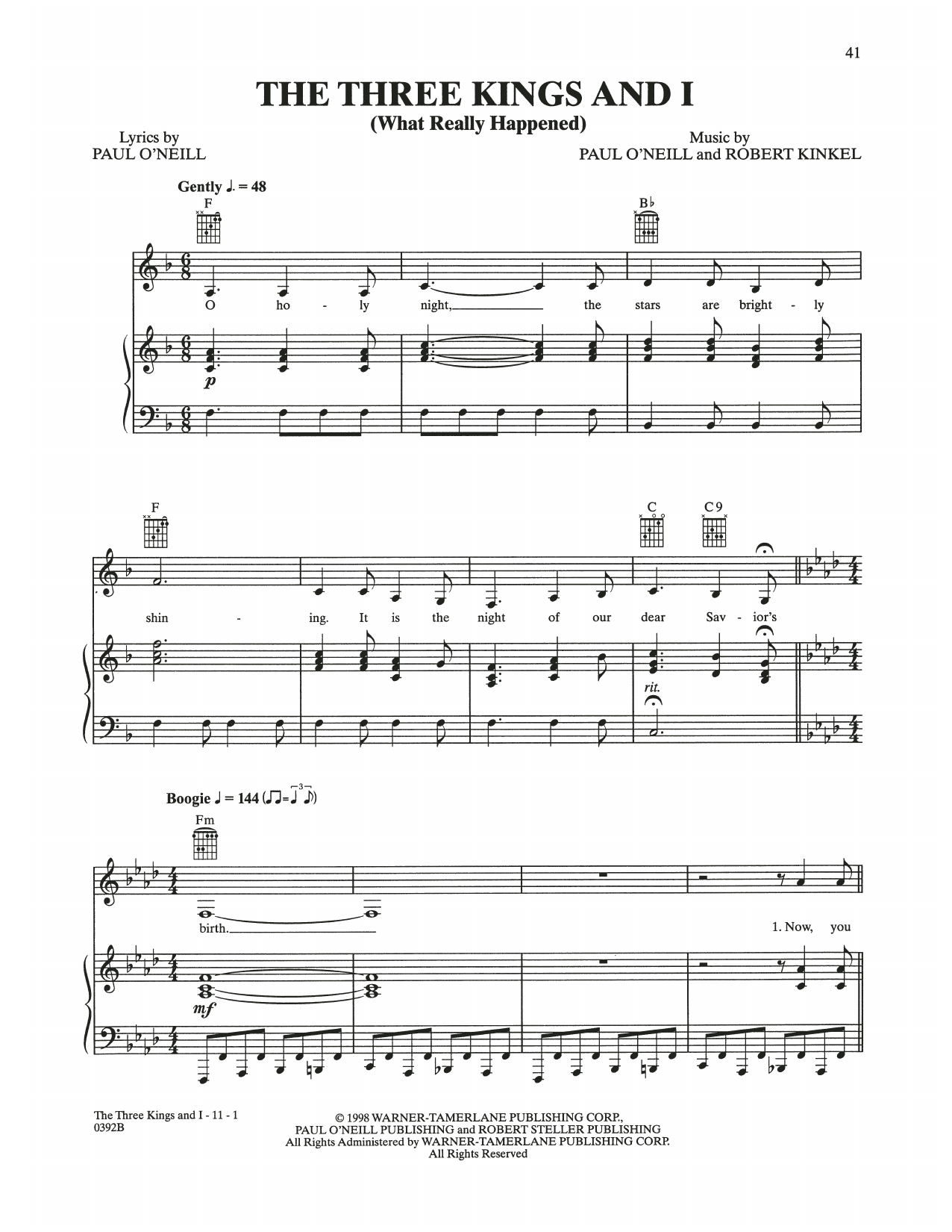 The Three Kings And I (What Really Happened) (Piano, Vocal & Guitar (Right-Hand Melody))