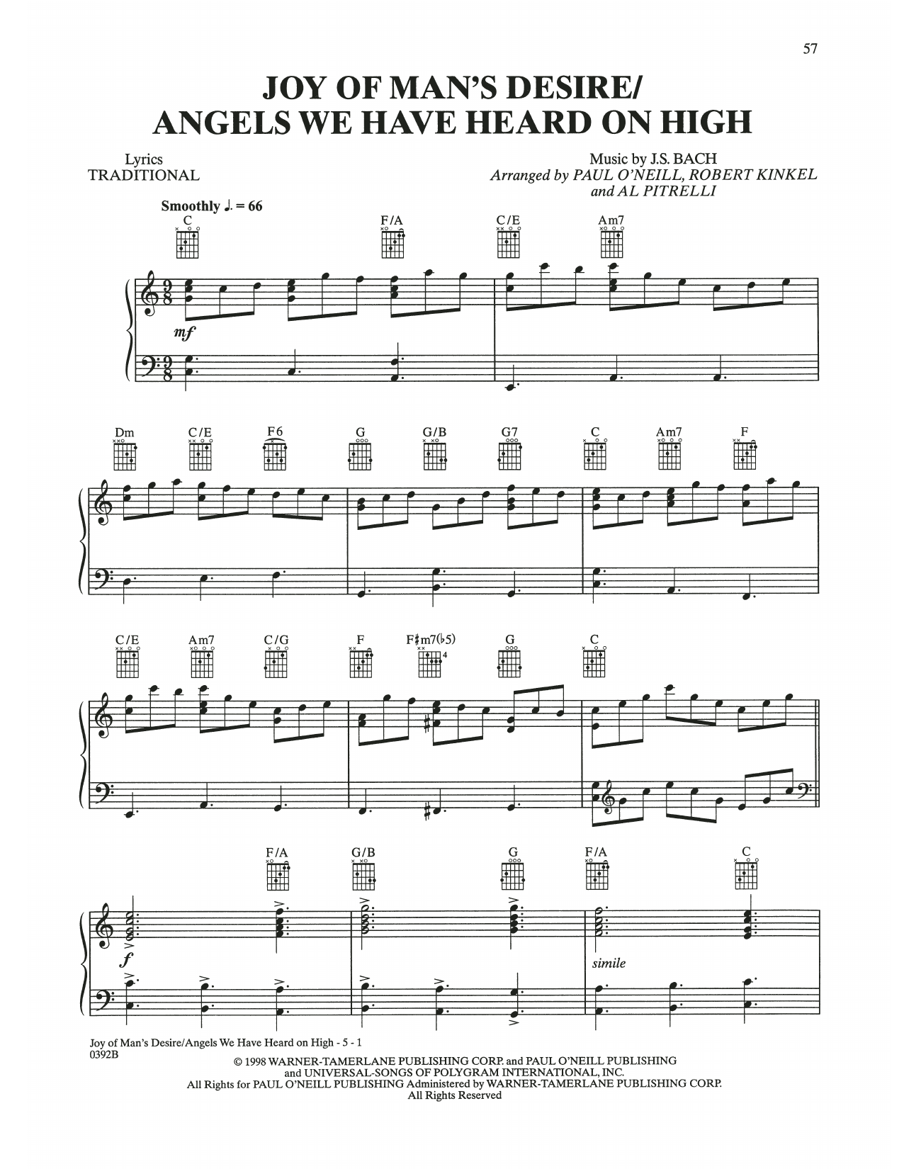 Joy Of Man's Desire / Angels We Have Heard On High (Piano, Vocal & Guitar (Right-Hand Melody))