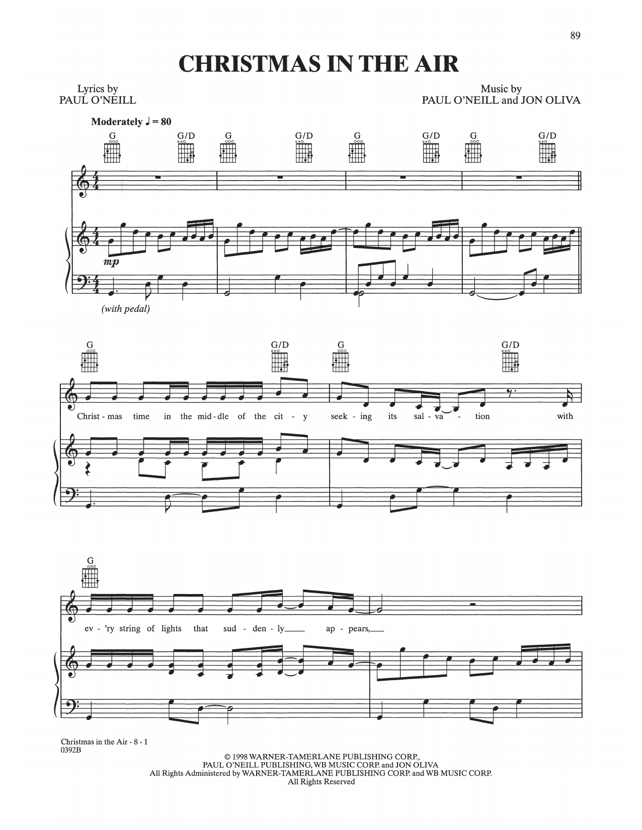 Christmas In The Air (Piano, Vocal & Guitar (Right-Hand Melody))