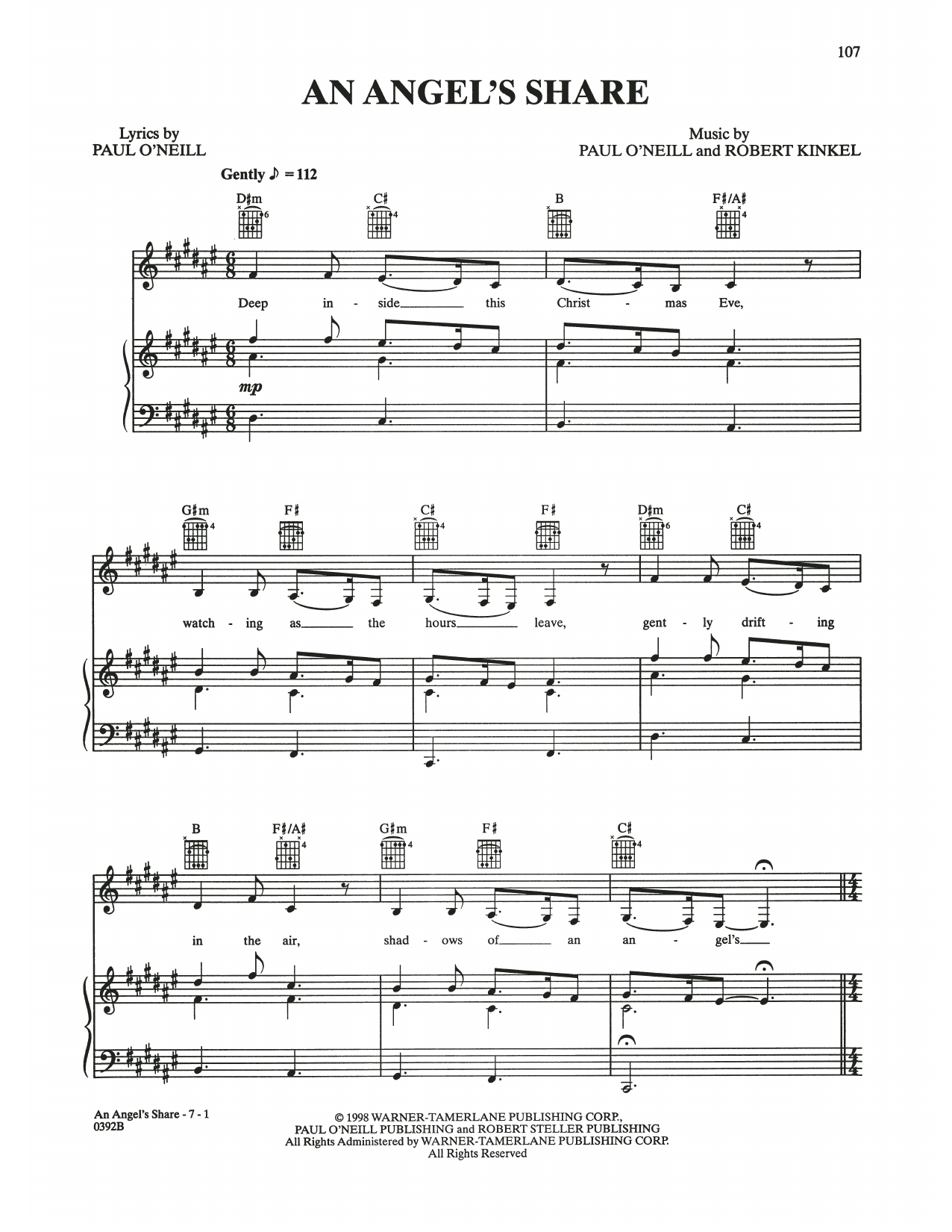 An Angel's Share (Piano, Vocal & Guitar (Right-Hand Melody))