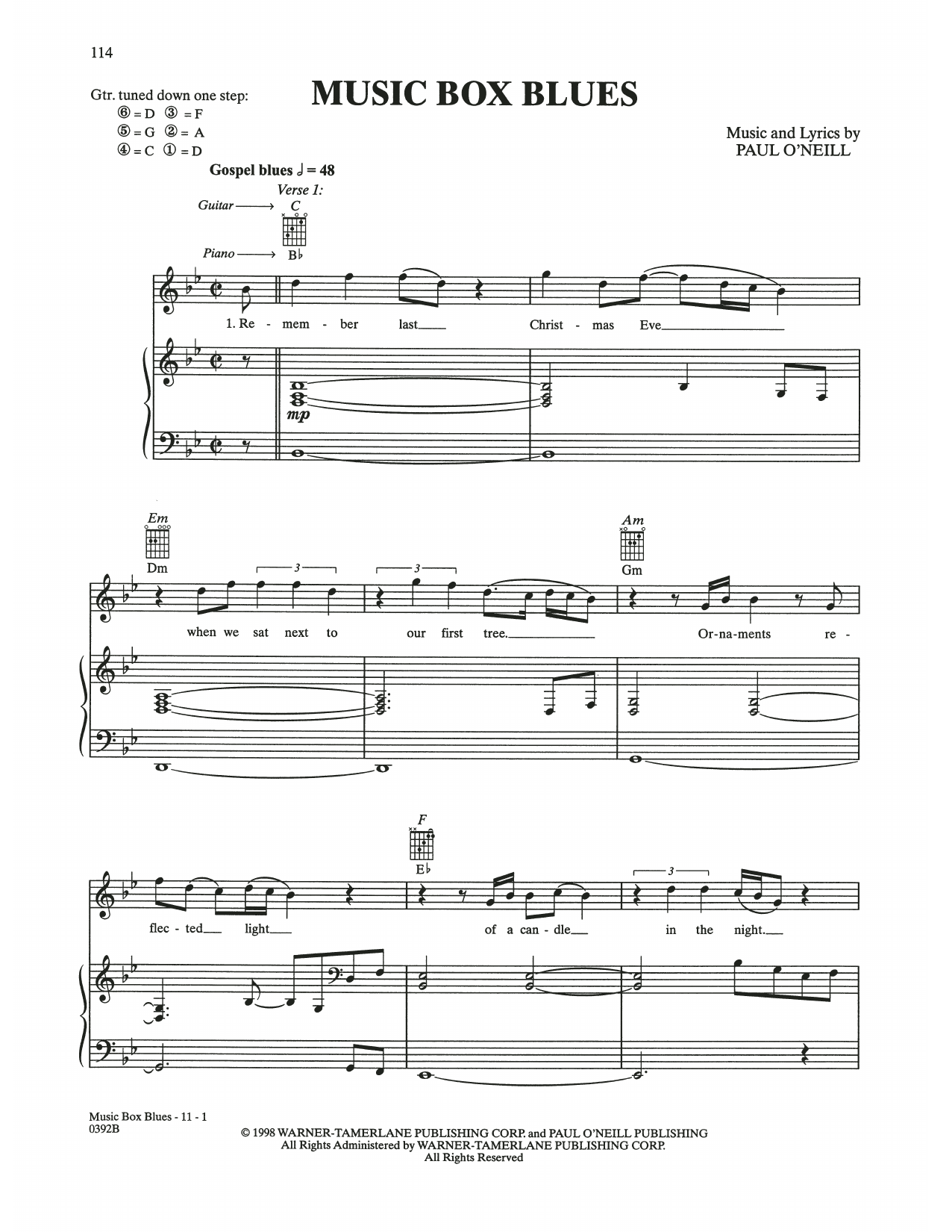 Music Box Blues (Piano, Vocal & Guitar (Right-Hand Melody))