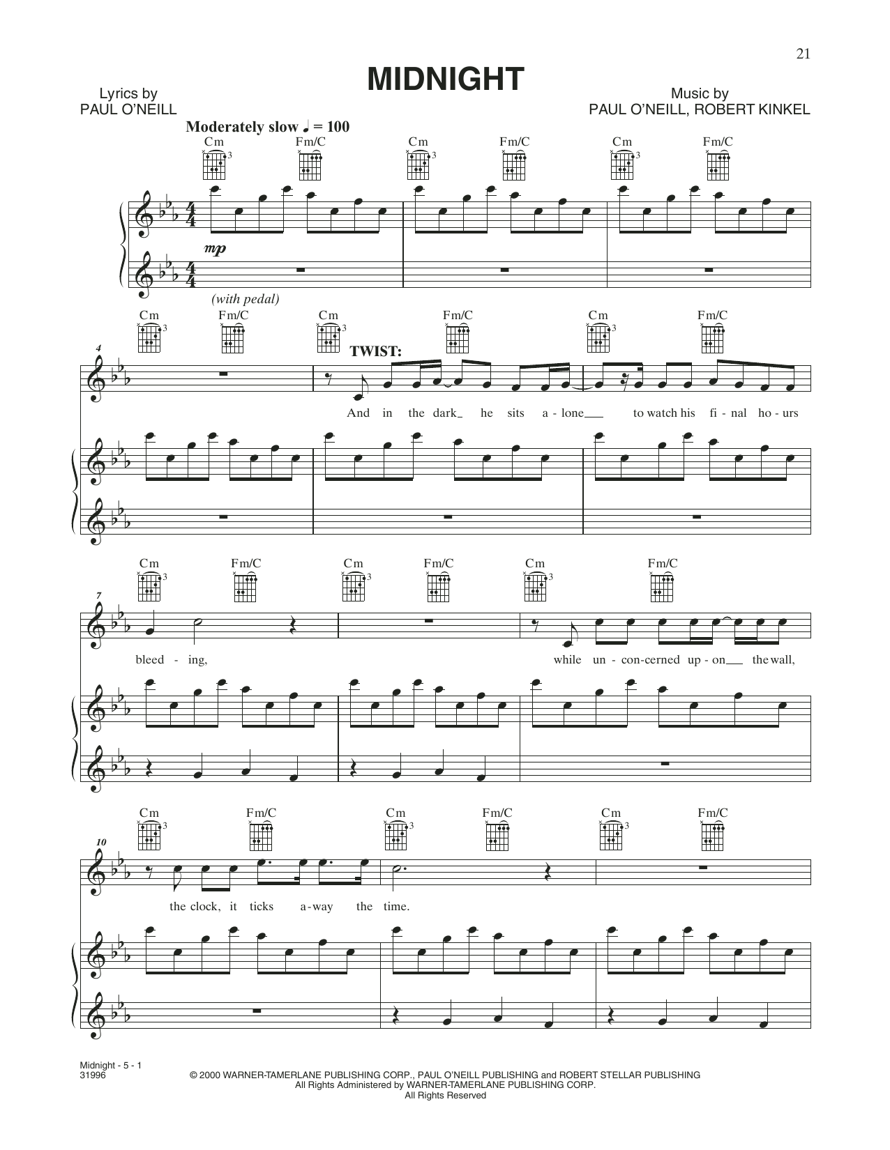 Midnight (Piano, Vocal & Guitar (Right-Hand Melody))