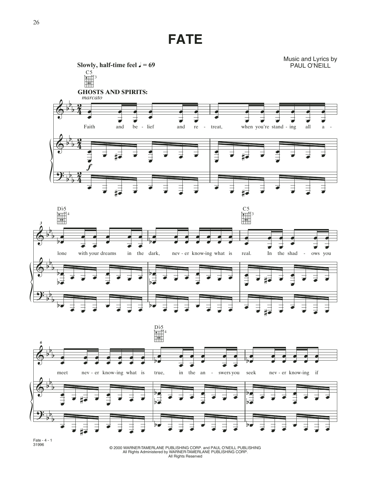 Fate (Piano, Vocal & Guitar (Right-Hand Melody))