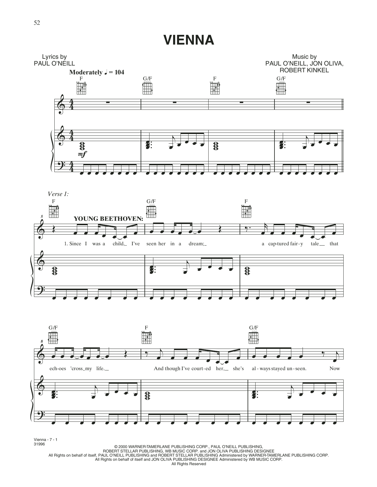 Vienna (Piano, Vocal & Guitar (Right-Hand Melody))