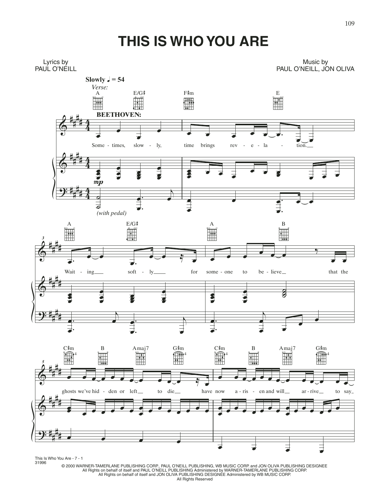 This Is Who You Are (Piano, Vocal & Guitar (Right-Hand Melody))