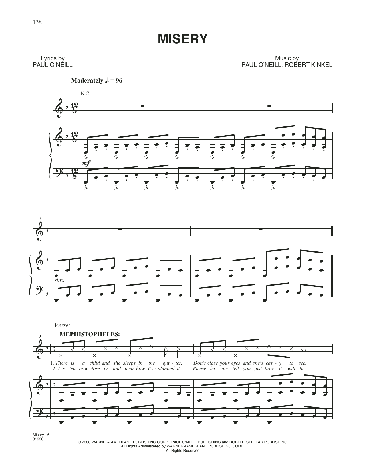 Misery (Piano, Vocal & Guitar (Right-Hand Melody))