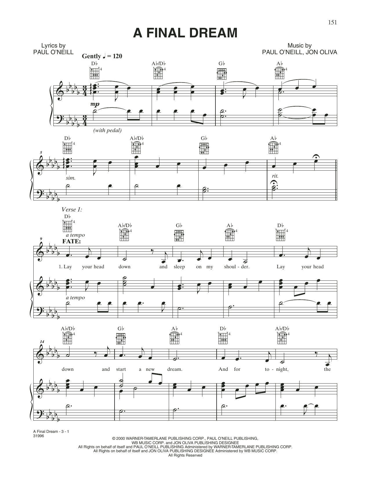 A Final Dream (Piano, Vocal & Guitar (Right-Hand Melody))