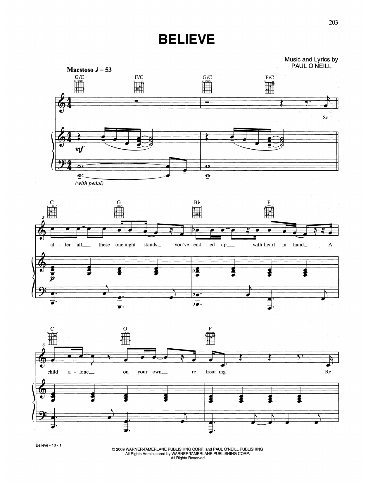 Believe (Piano, Vocal & Guitar (Right-Hand Melody))
