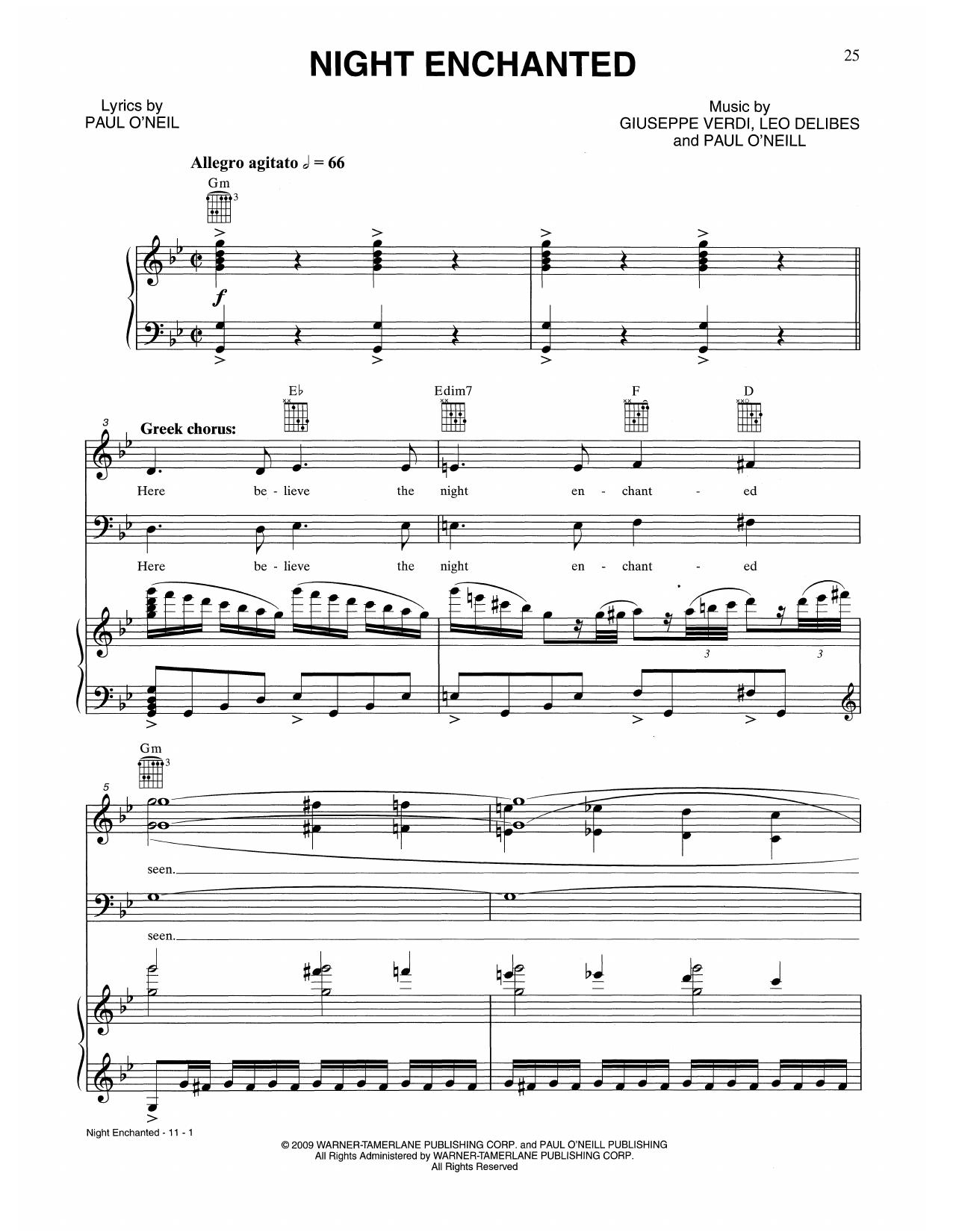 Night Enchanted (Piano, Vocal & Guitar (Right-Hand Melody))