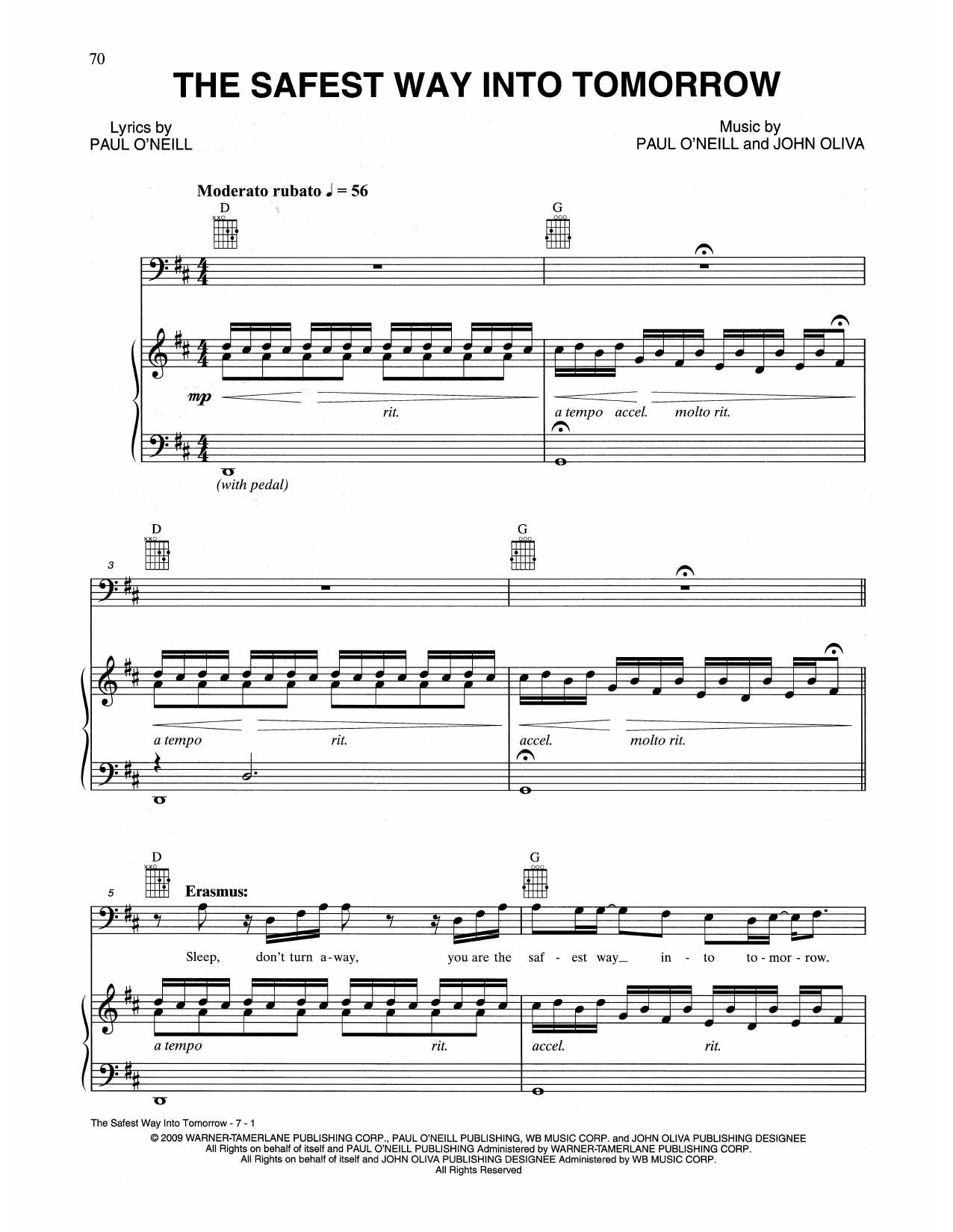 The Safest Way Into Tomorrow (Piano, Vocal & Guitar (Right-Hand Melody))