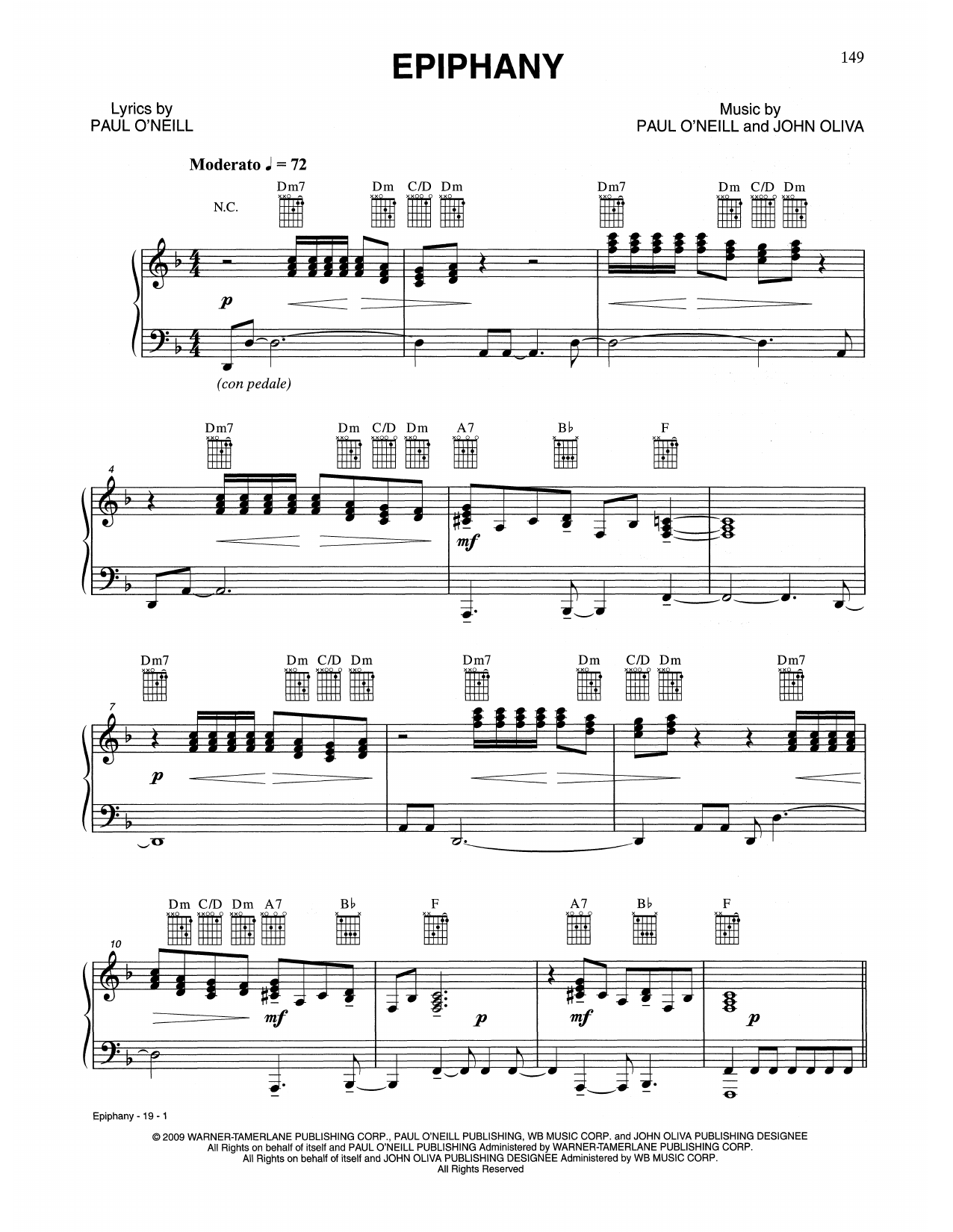 Epiphany (Piano, Vocal & Guitar (Right-Hand Melody))