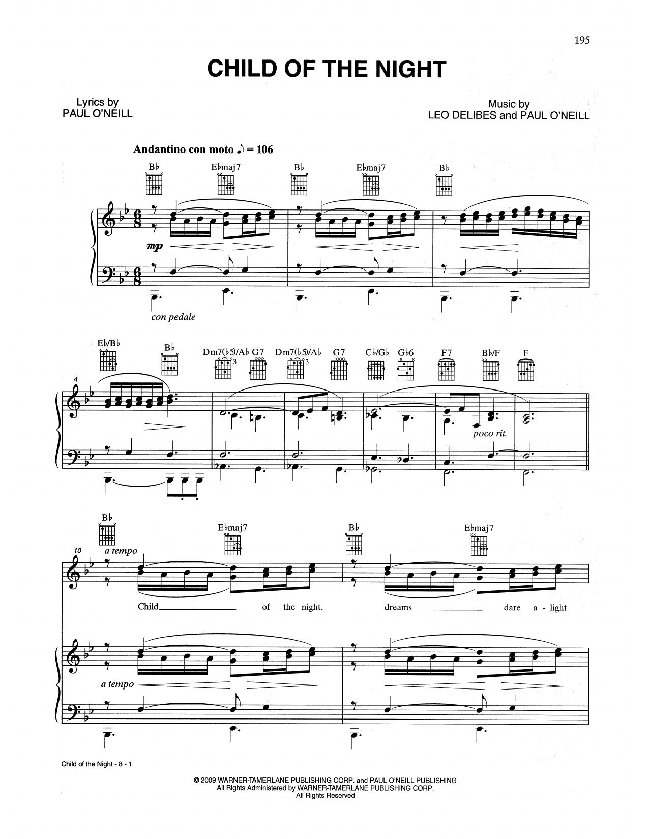 Child Of The Night (Piano, Vocal & Guitar (Right-Hand Melody))