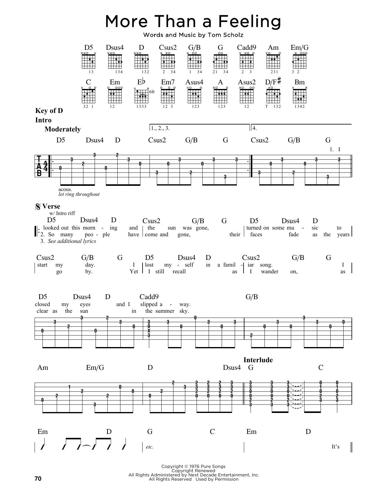 More Than A Feeling (Guitar Lead Sheet)