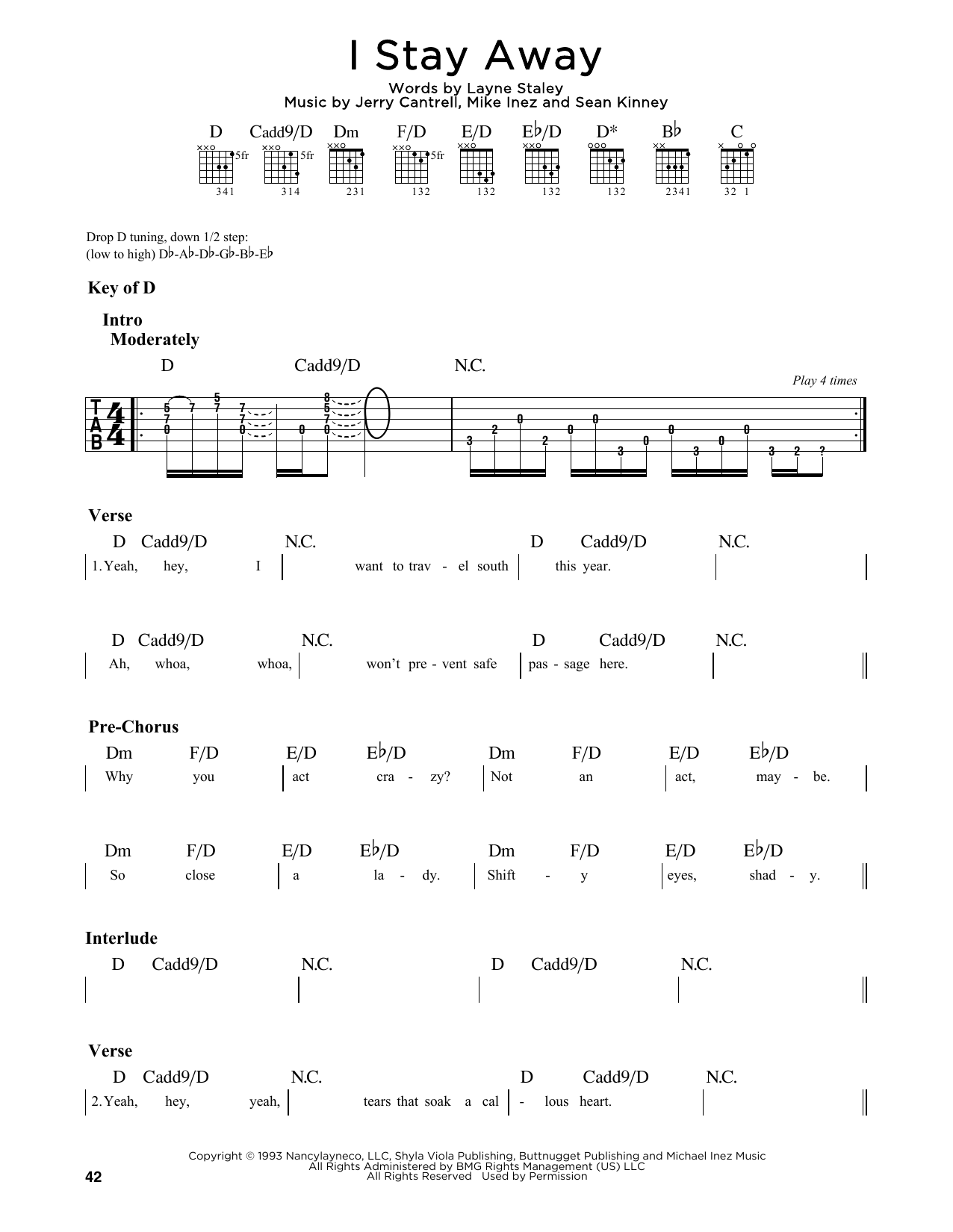I Stay Away (Guitar Lead Sheet)