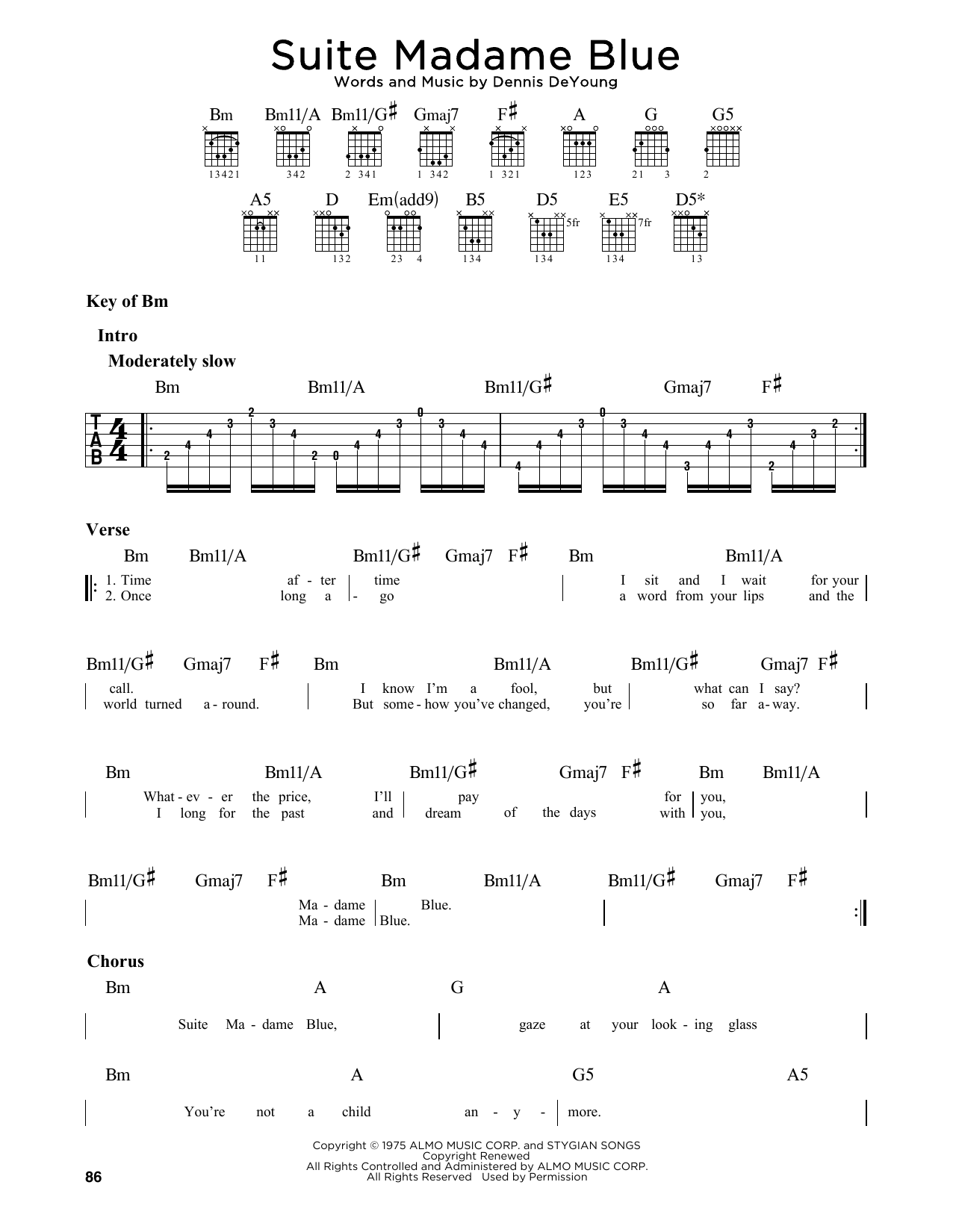 Suite Madame Blue (Guitar Lead Sheet)