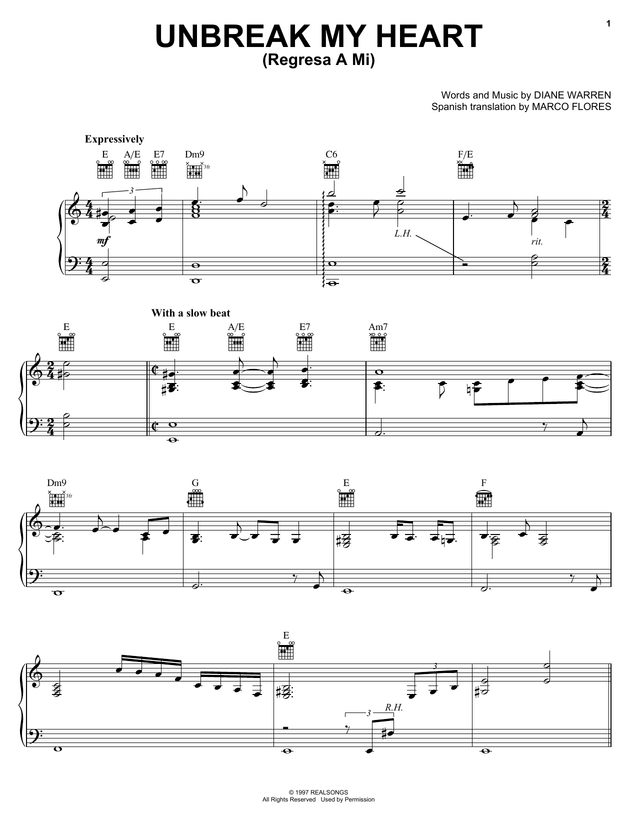 Un-break My Heart (Piano, Vocal & Guitar (Right-Hand Melody))