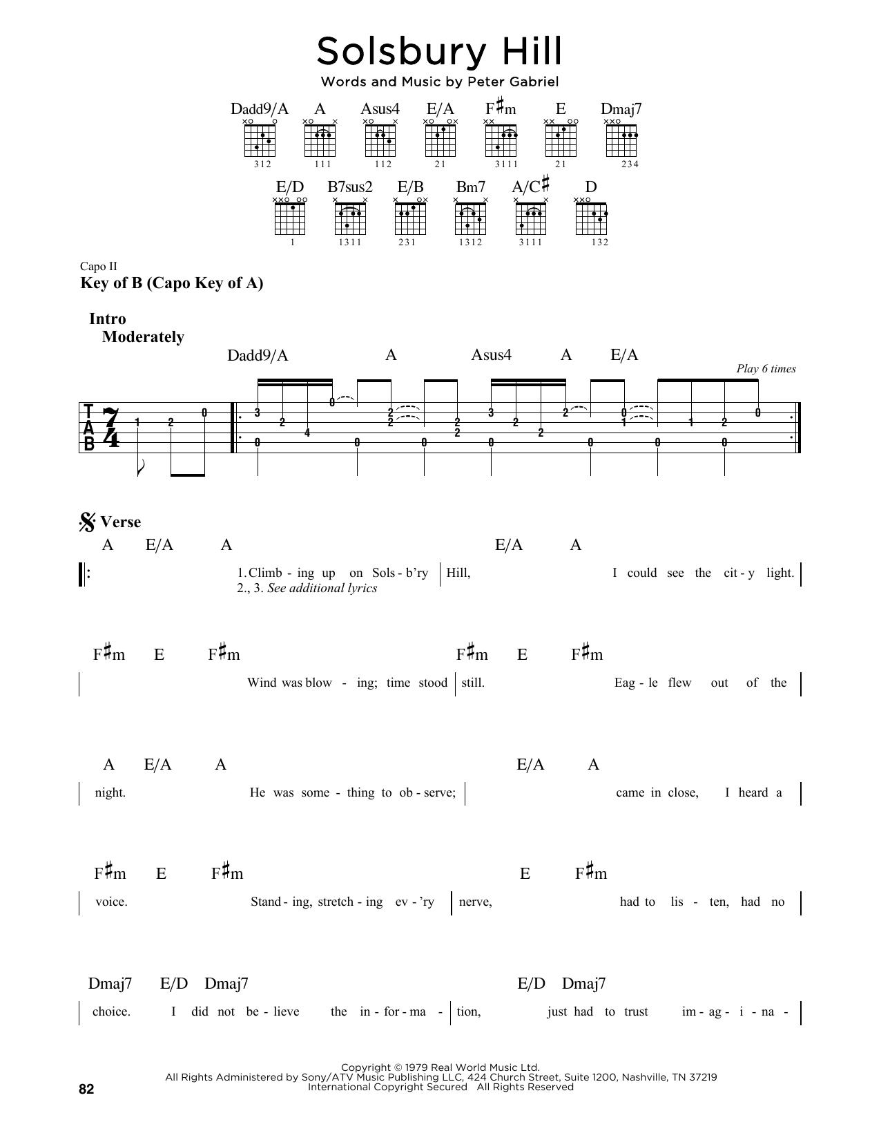 Solsbury Hill (Guitar Lead Sheet)