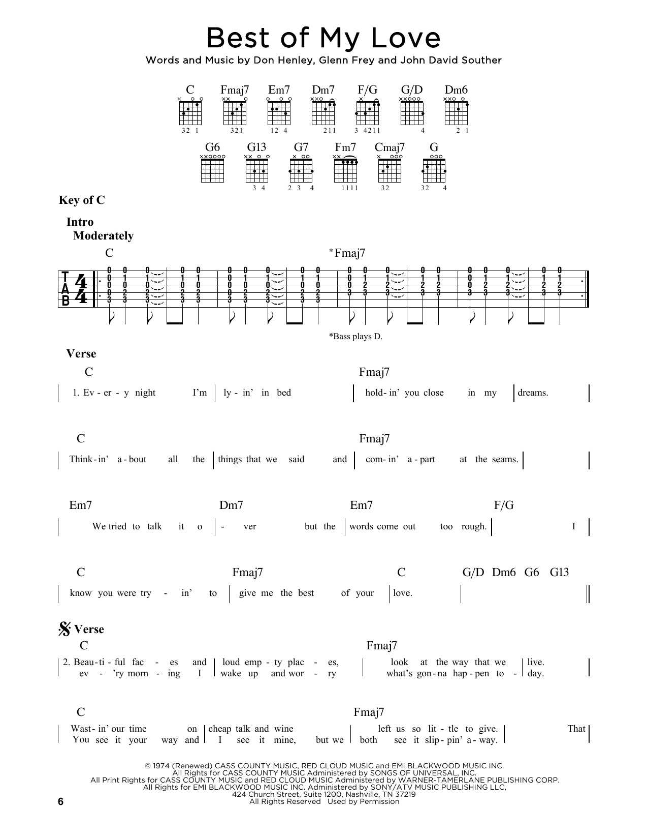 Best Of My Love (Guitar Lead Sheet)