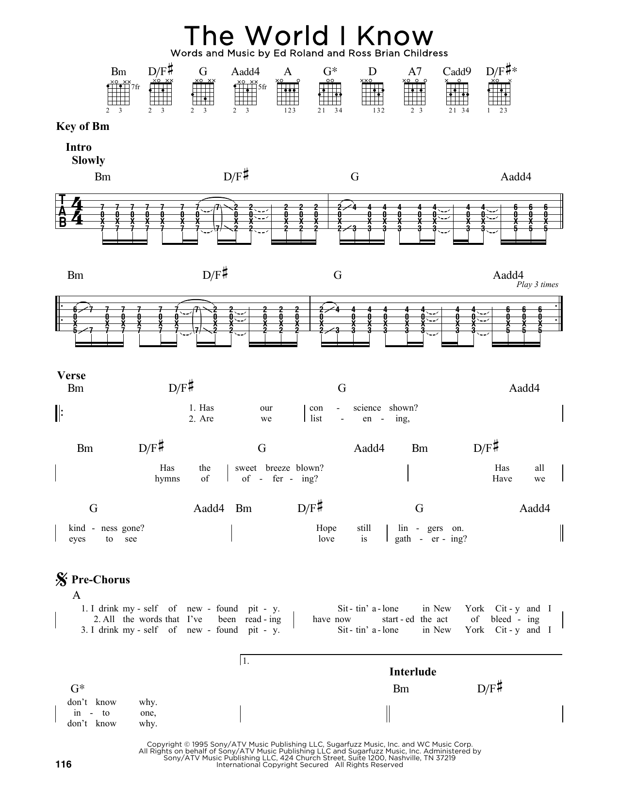 The World I Know (Guitar Lead Sheet)
