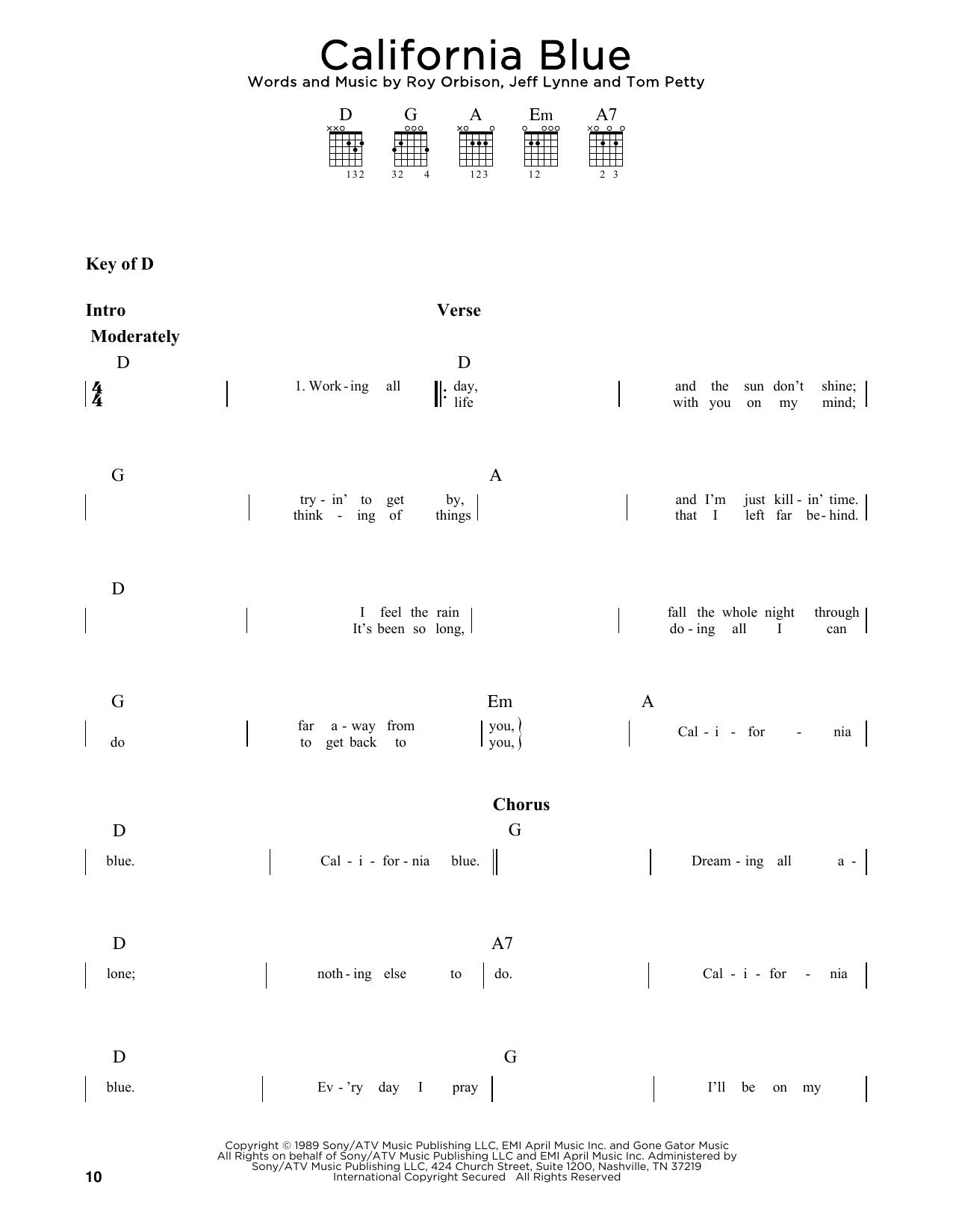California Blue (Guitar Lead Sheet)