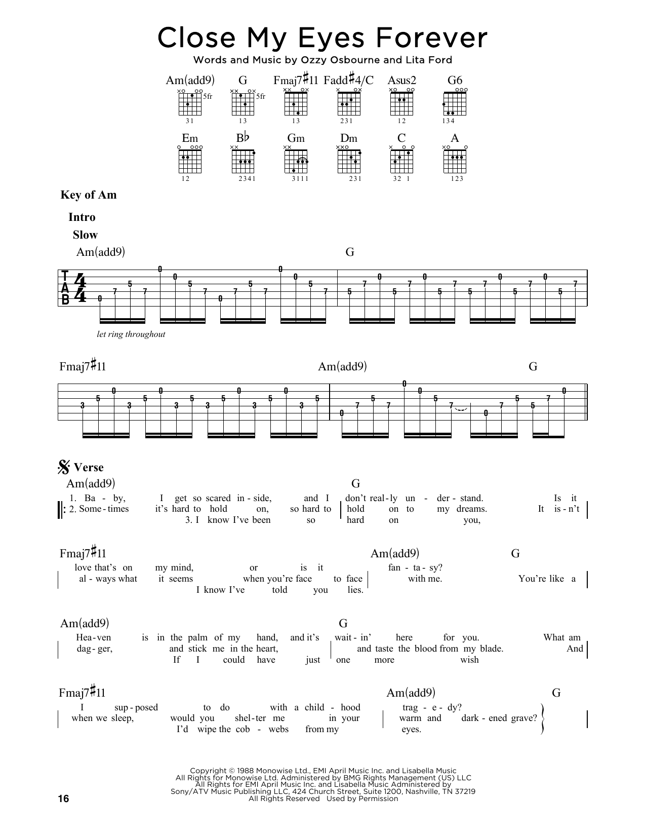 Close My Eyes Forever (Guitar Lead Sheet)