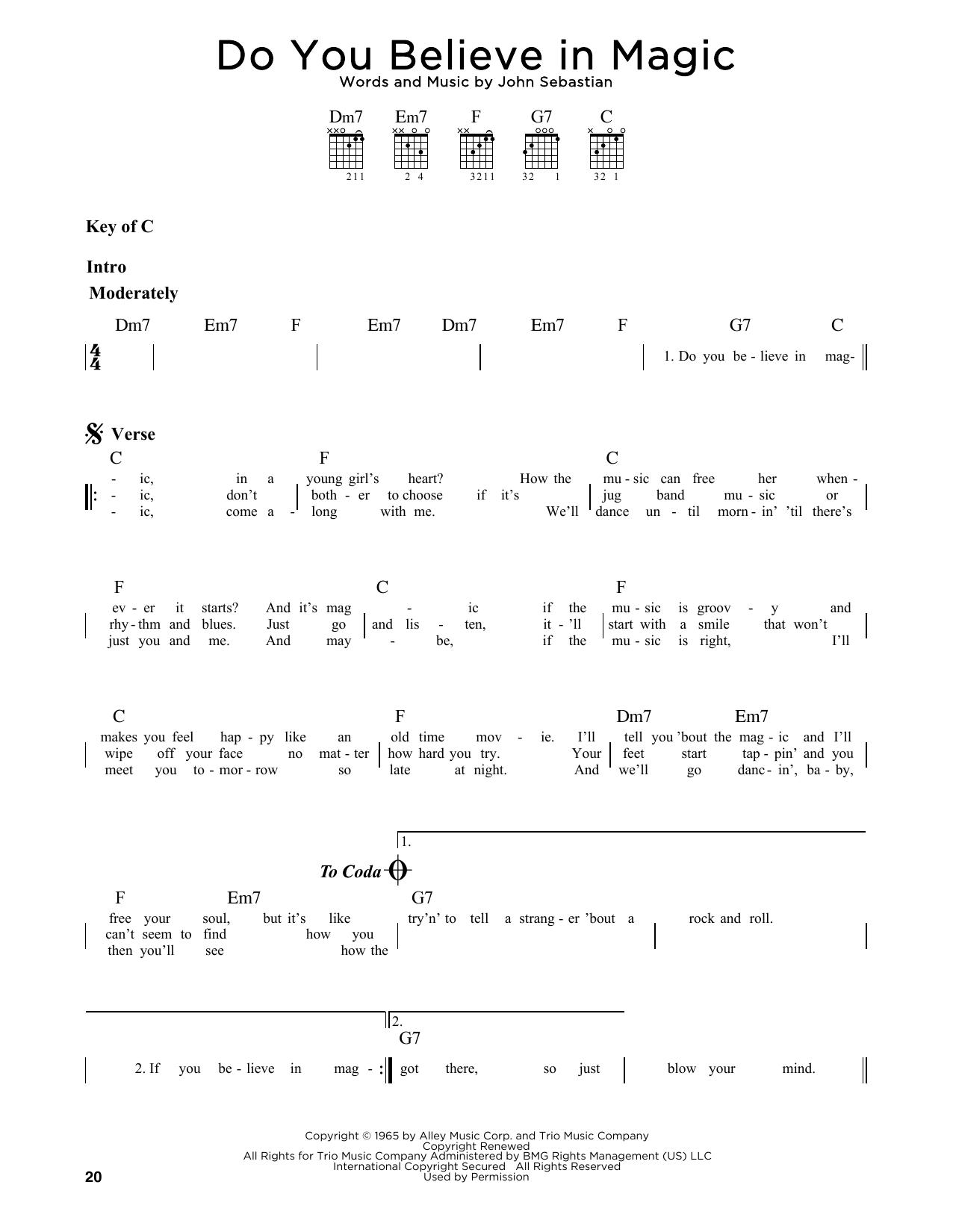 Do You Believe In Magic (Guitar Lead Sheet)