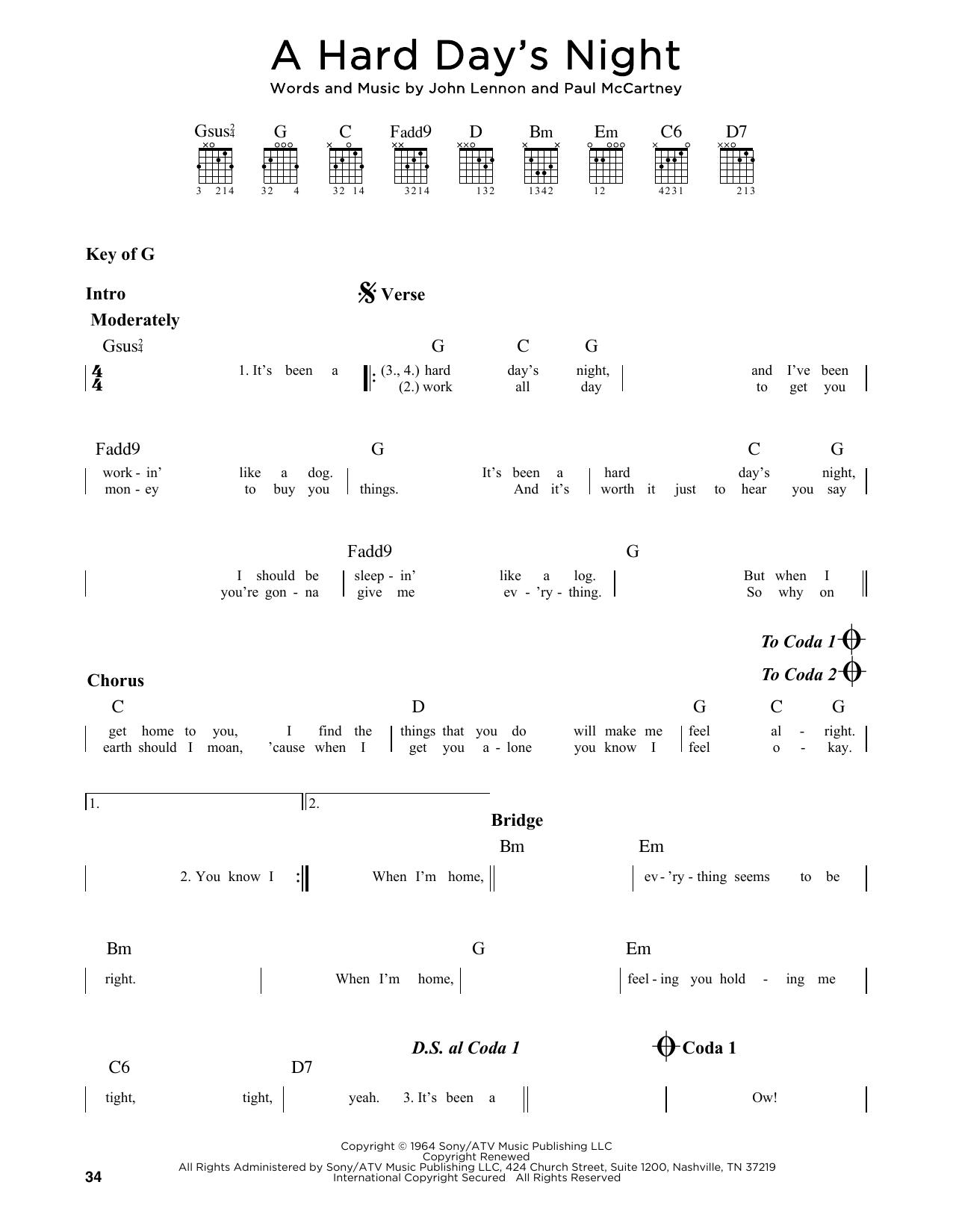 A Hard Day's Night (Guitar Lead Sheet)