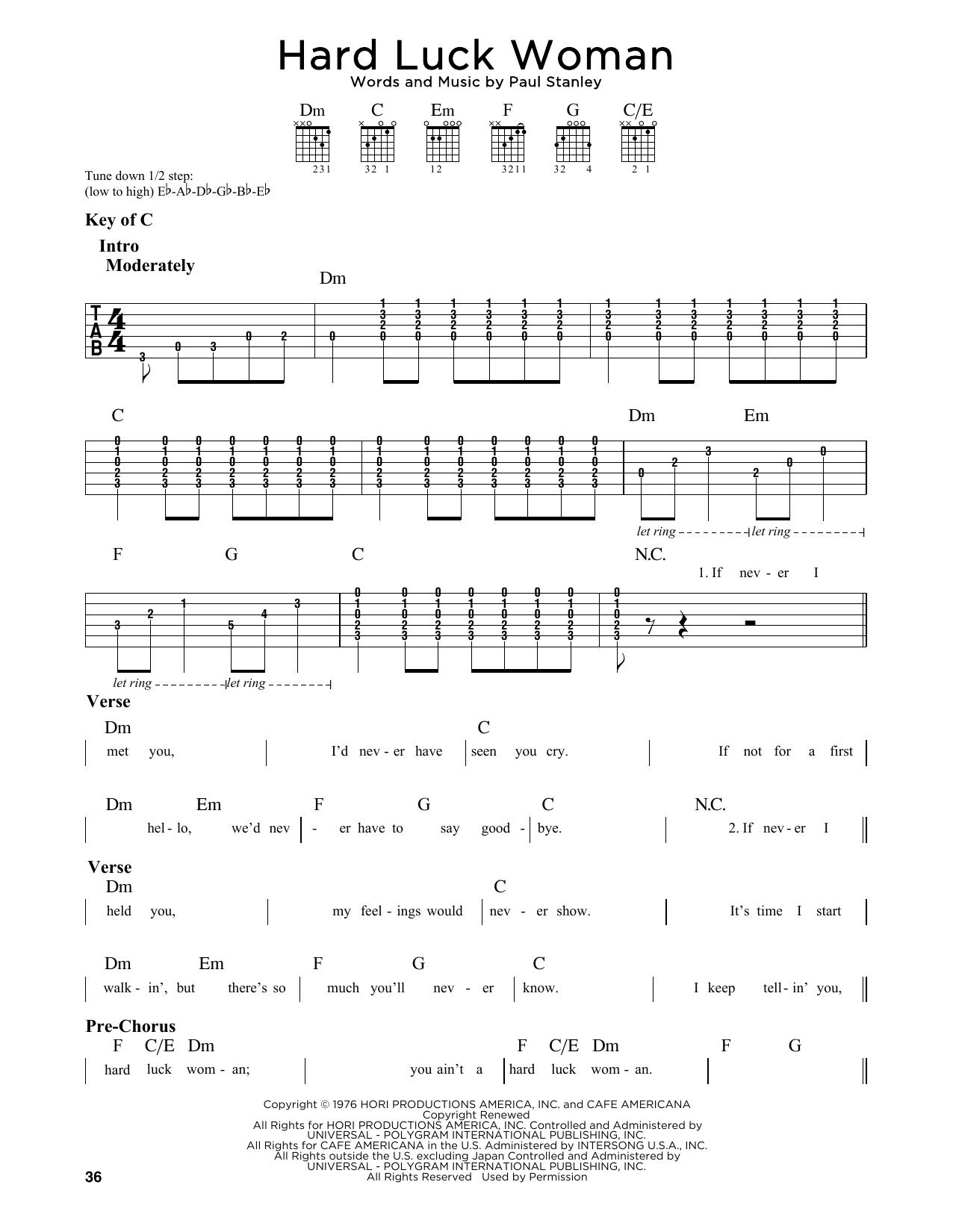 Hard Luck Woman (Guitar Lead Sheet)