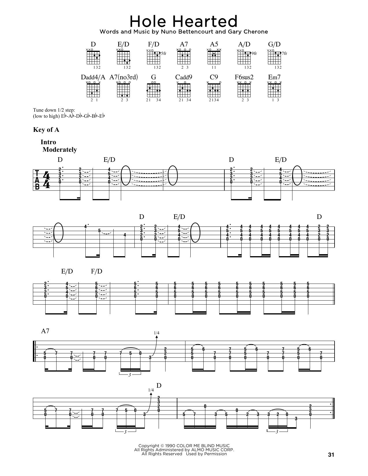 Hole Hearted (Guitar Lead Sheet)