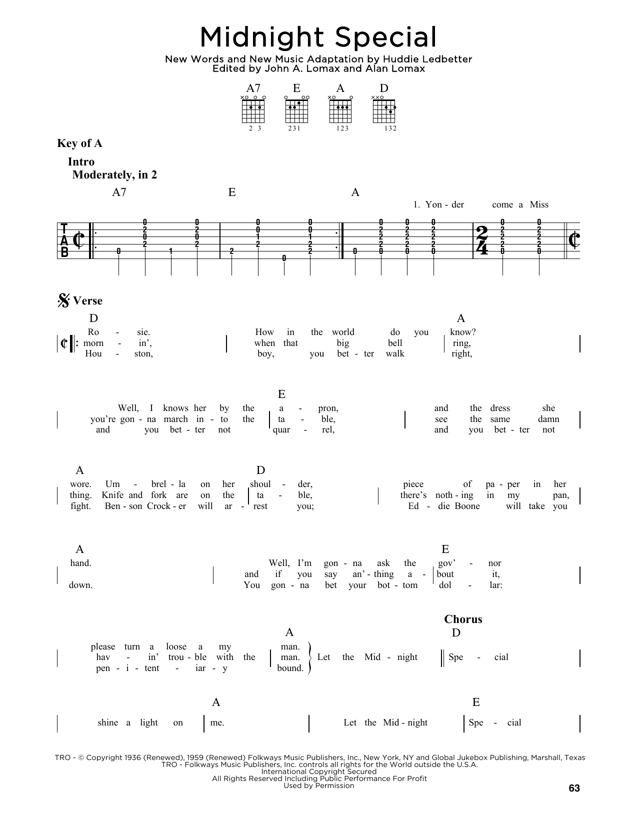 Midnight Special (Guitar Lead Sheet)