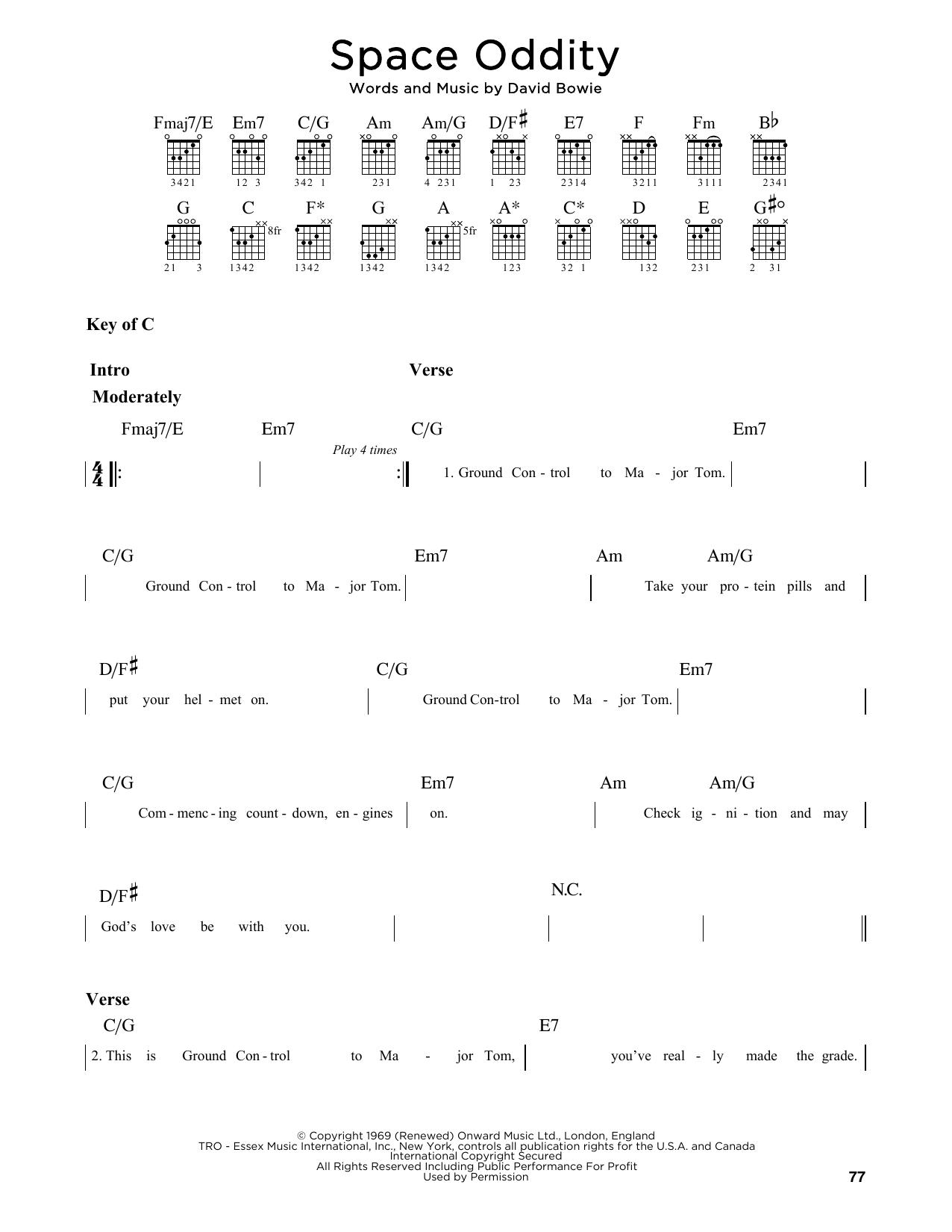 Space Oddity (Guitar Lead Sheet)