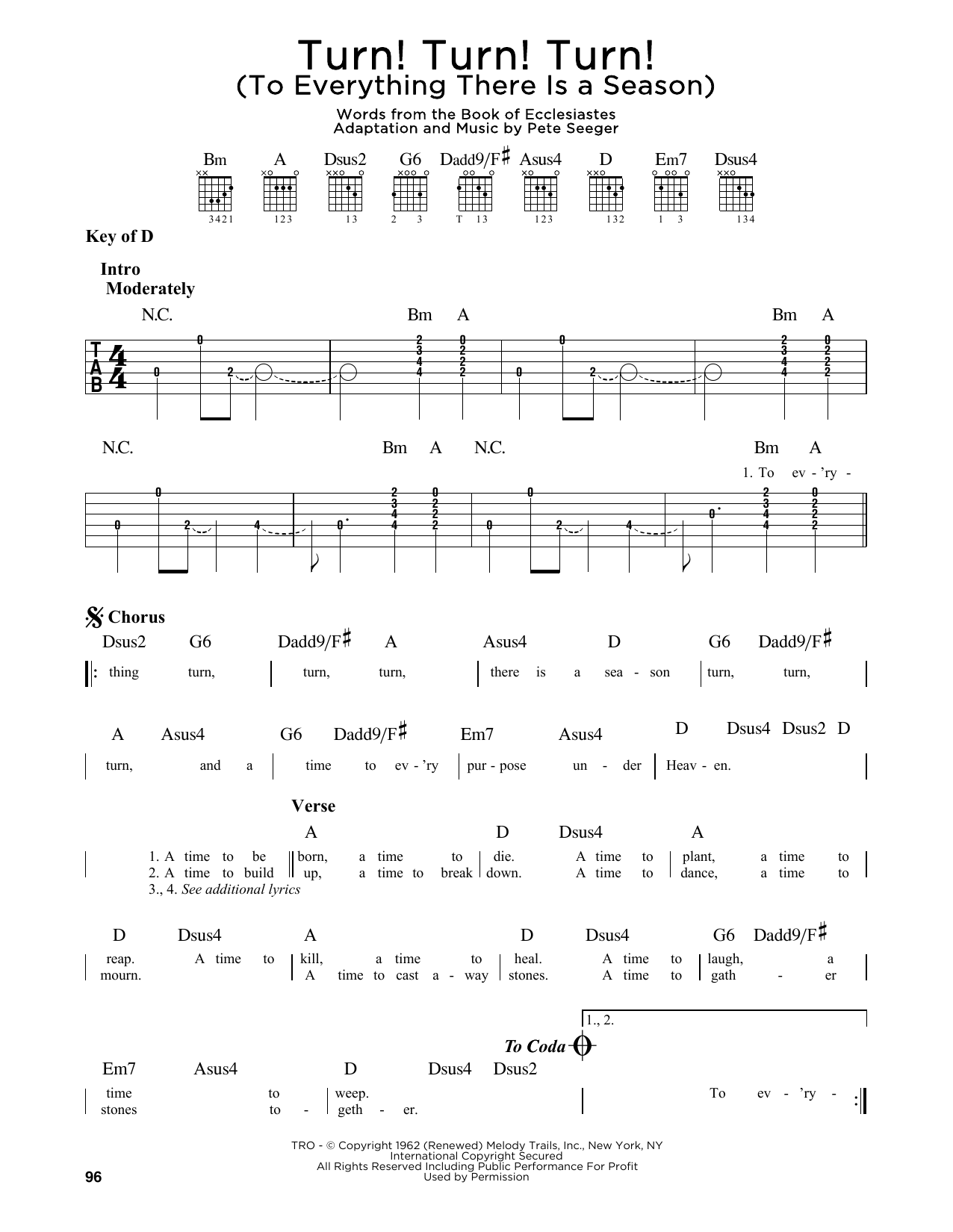 Turn! Turn! Turn! (To Everything There Is A Season) (Guitar Lead Sheet)