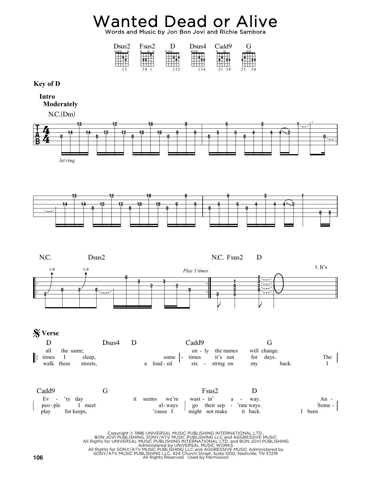 Wanted Dead Or Alive (Guitar Lead Sheet)
