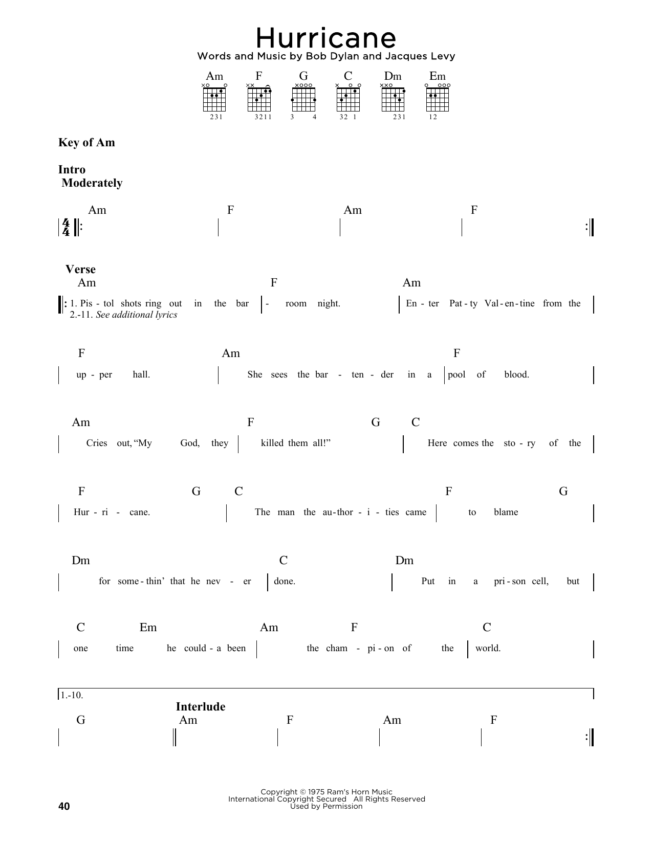 Hurricane (Guitar Lead Sheet)