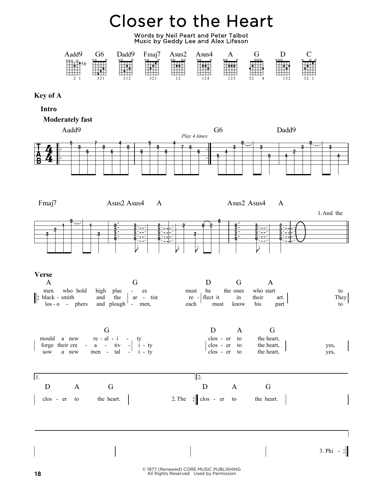 Closer To The Heart (Guitar Lead Sheet)