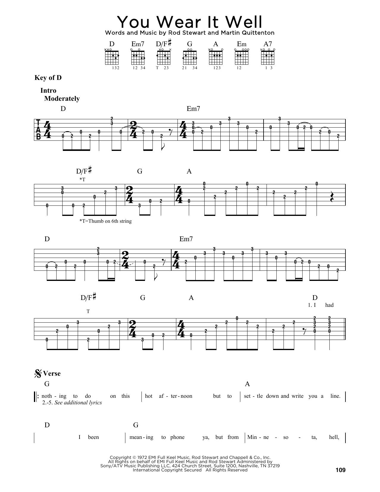 You Wear It Well (Guitar Lead Sheet)