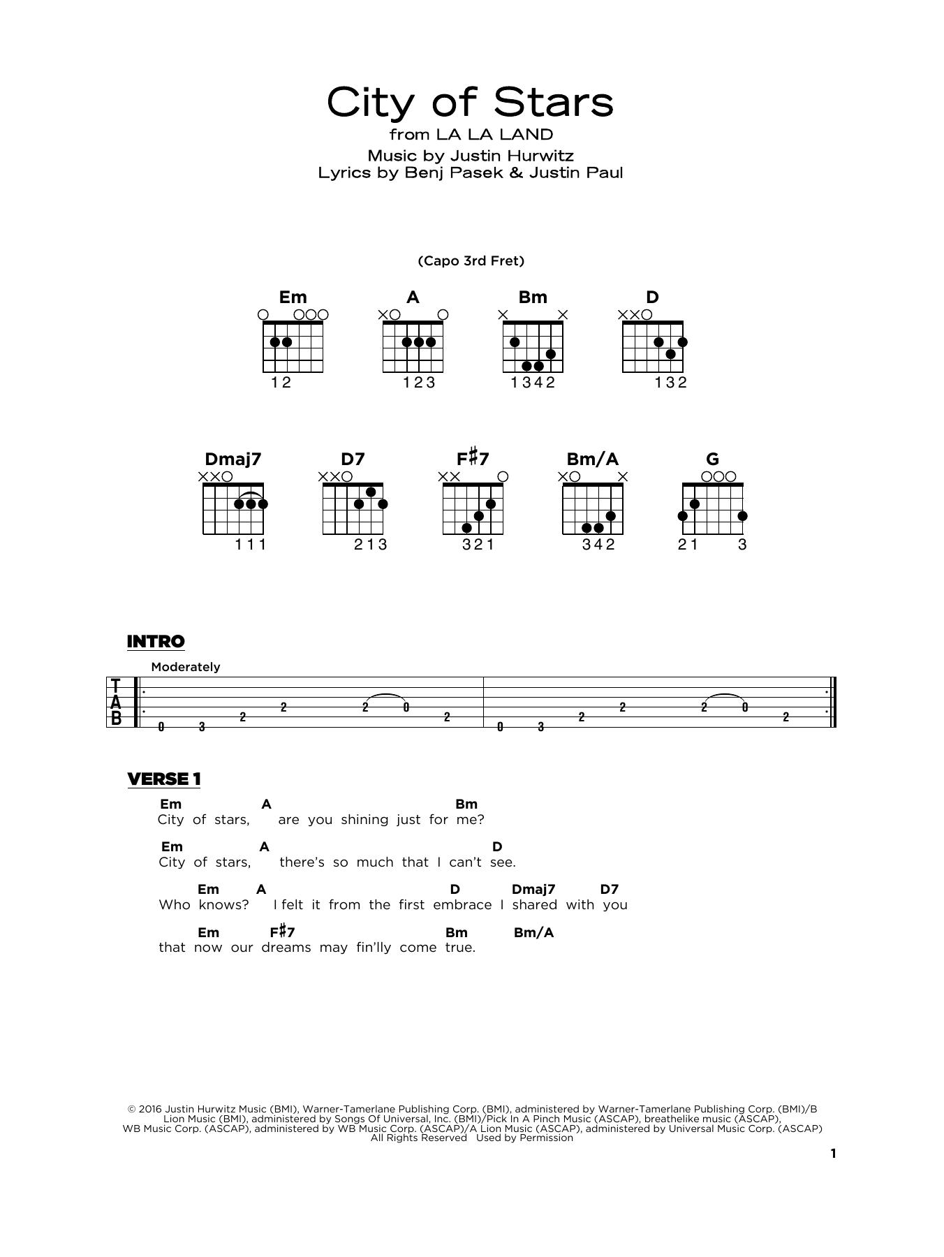 City Of Stars (from La La Land) (Really Easy Guitar)