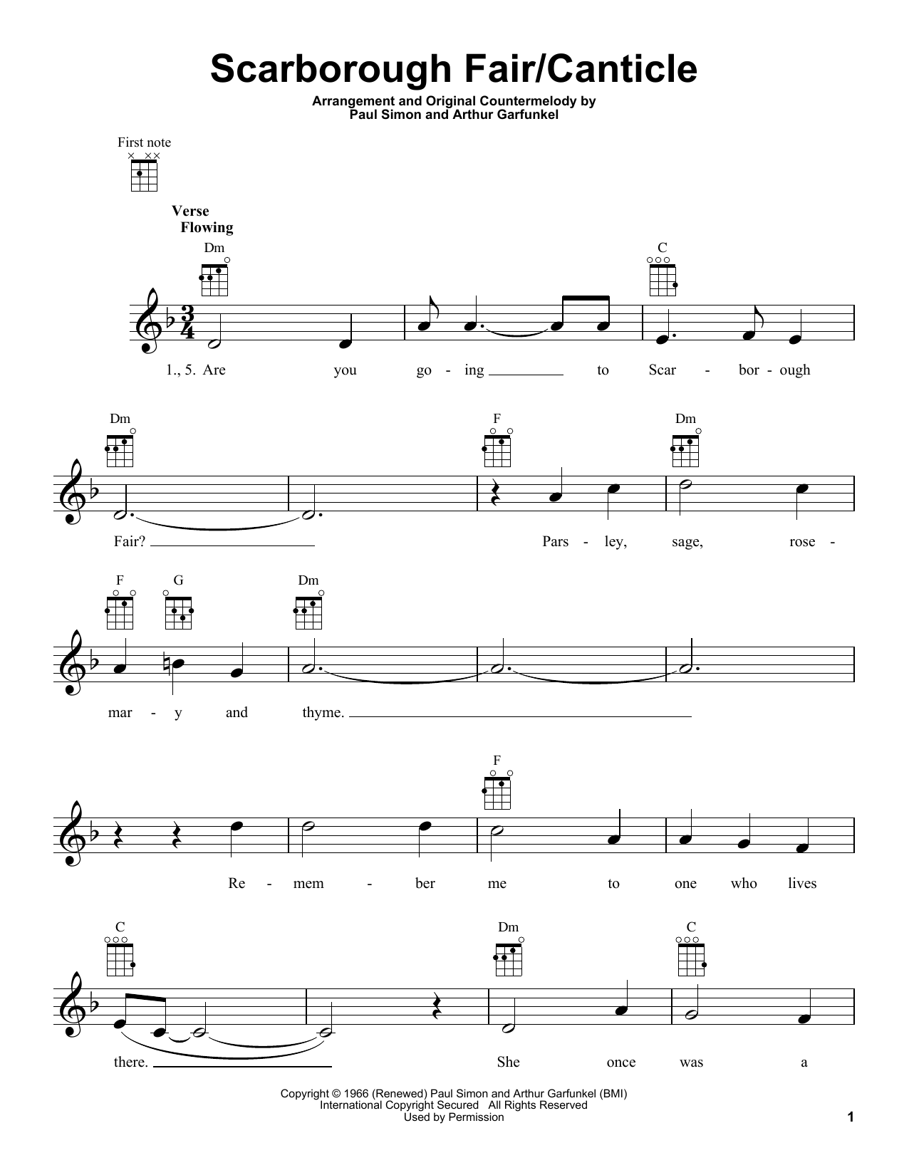 Scarborough Fair/Canticle by Simon & Garfunkel   Ukulele   Guitar ...