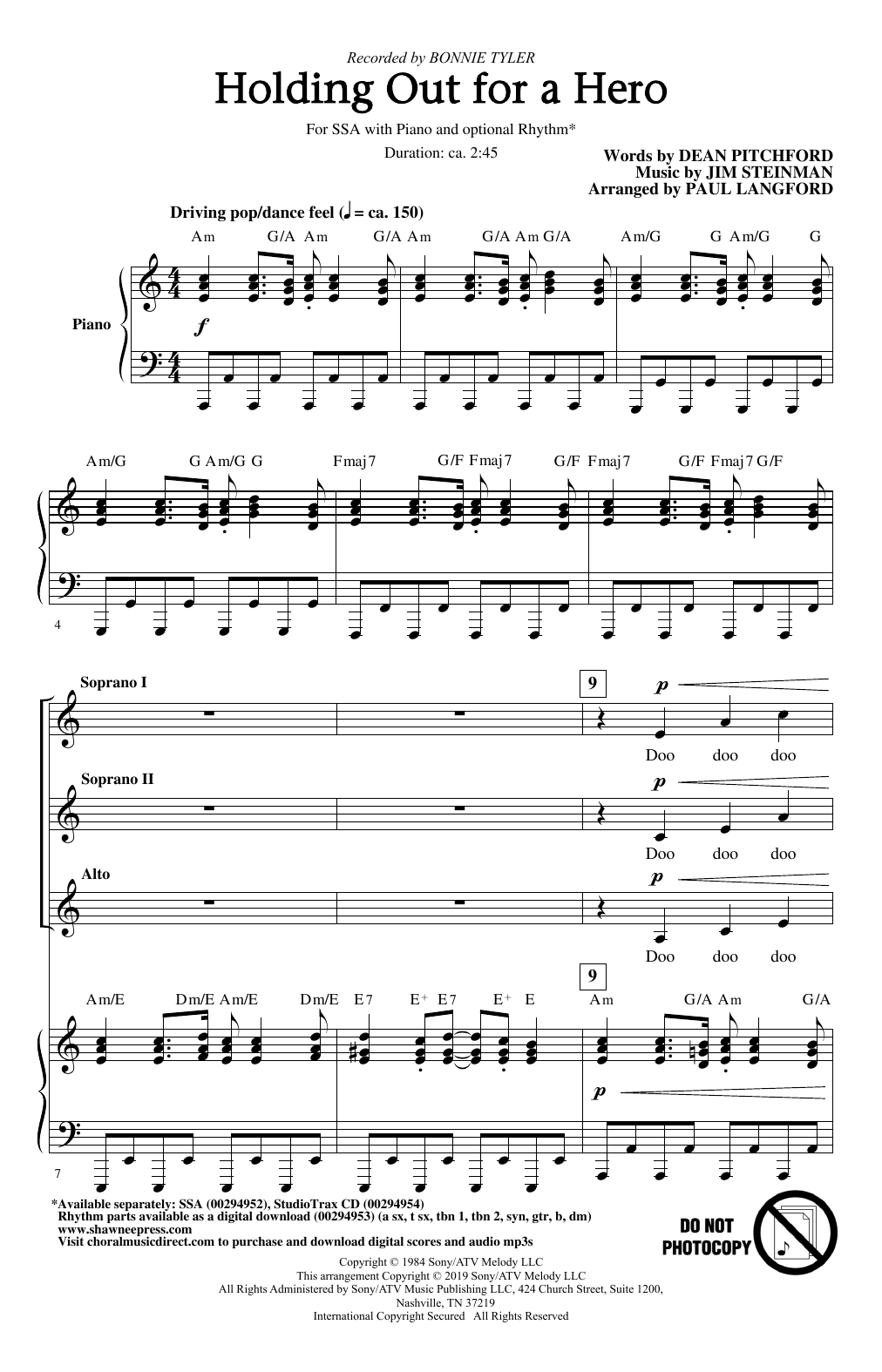 Holding Out For A Hero (from Footloose) (arr. Paul Langford) Sheet Music
