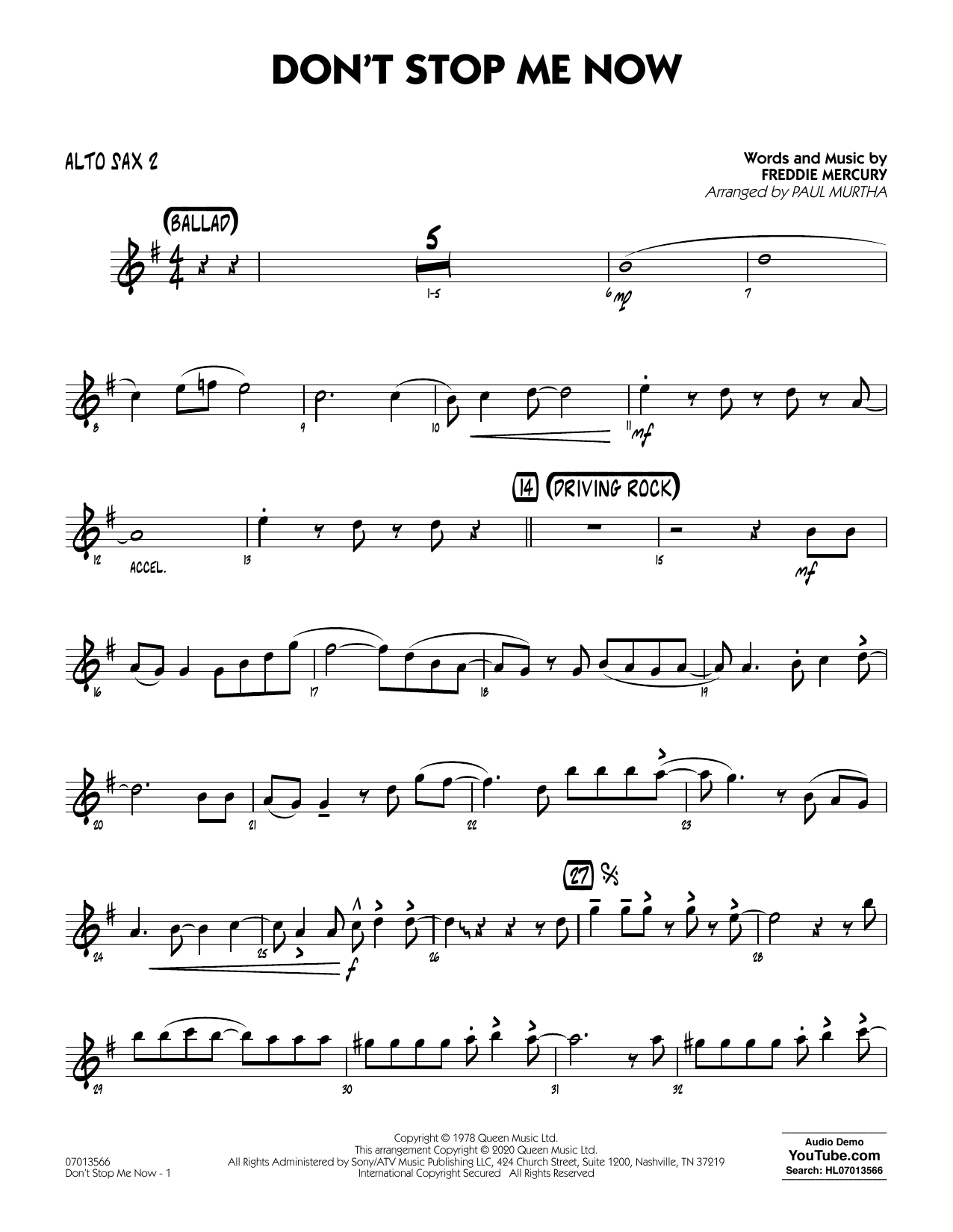 Don't Stop Me Now (arr. Paul Murtha) - Alto Sax 2 (Jazz Ensemble)