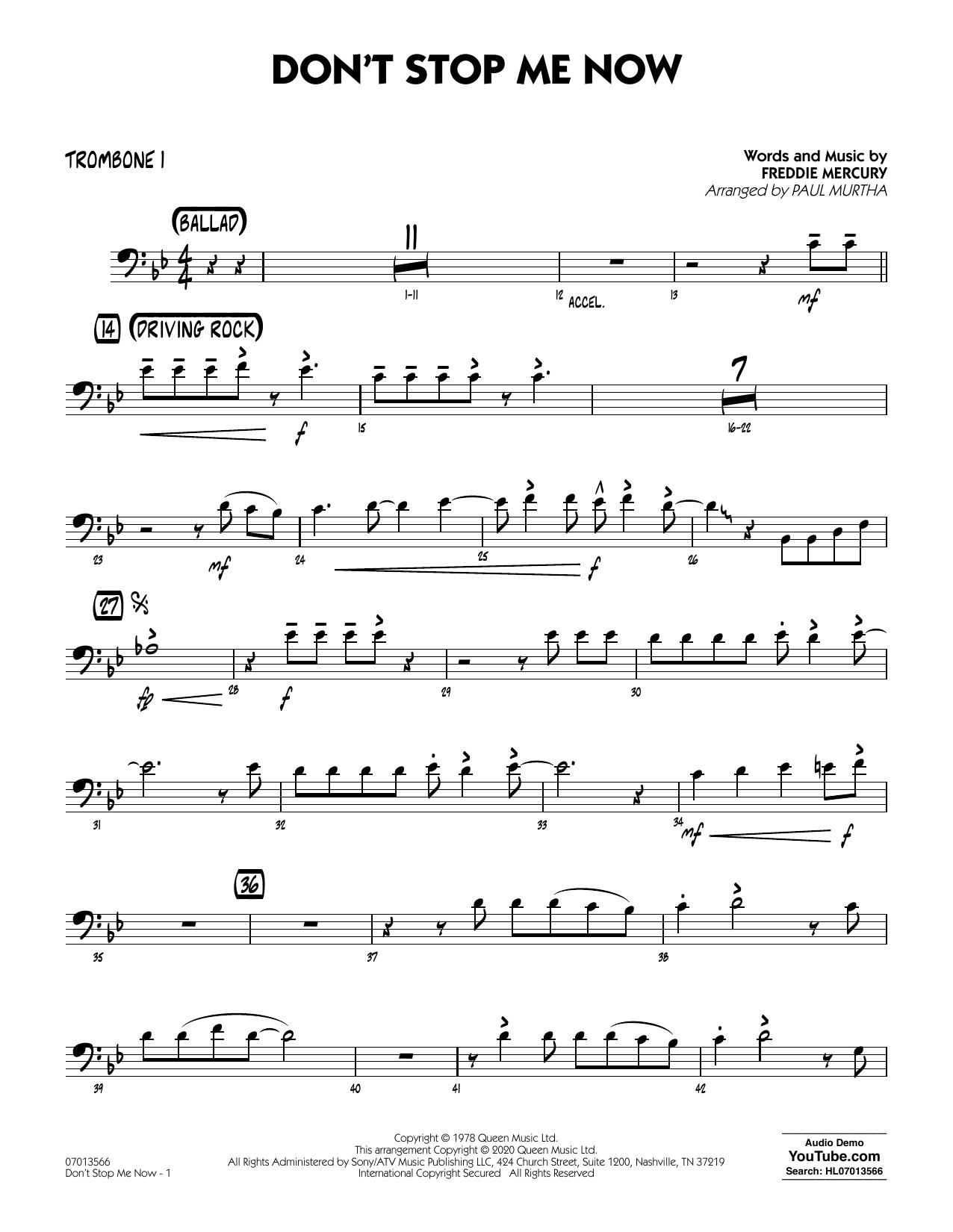 Don't Stop Me Now (arr. Paul Murtha) - Trombone 1 (Jazz Ensemble)