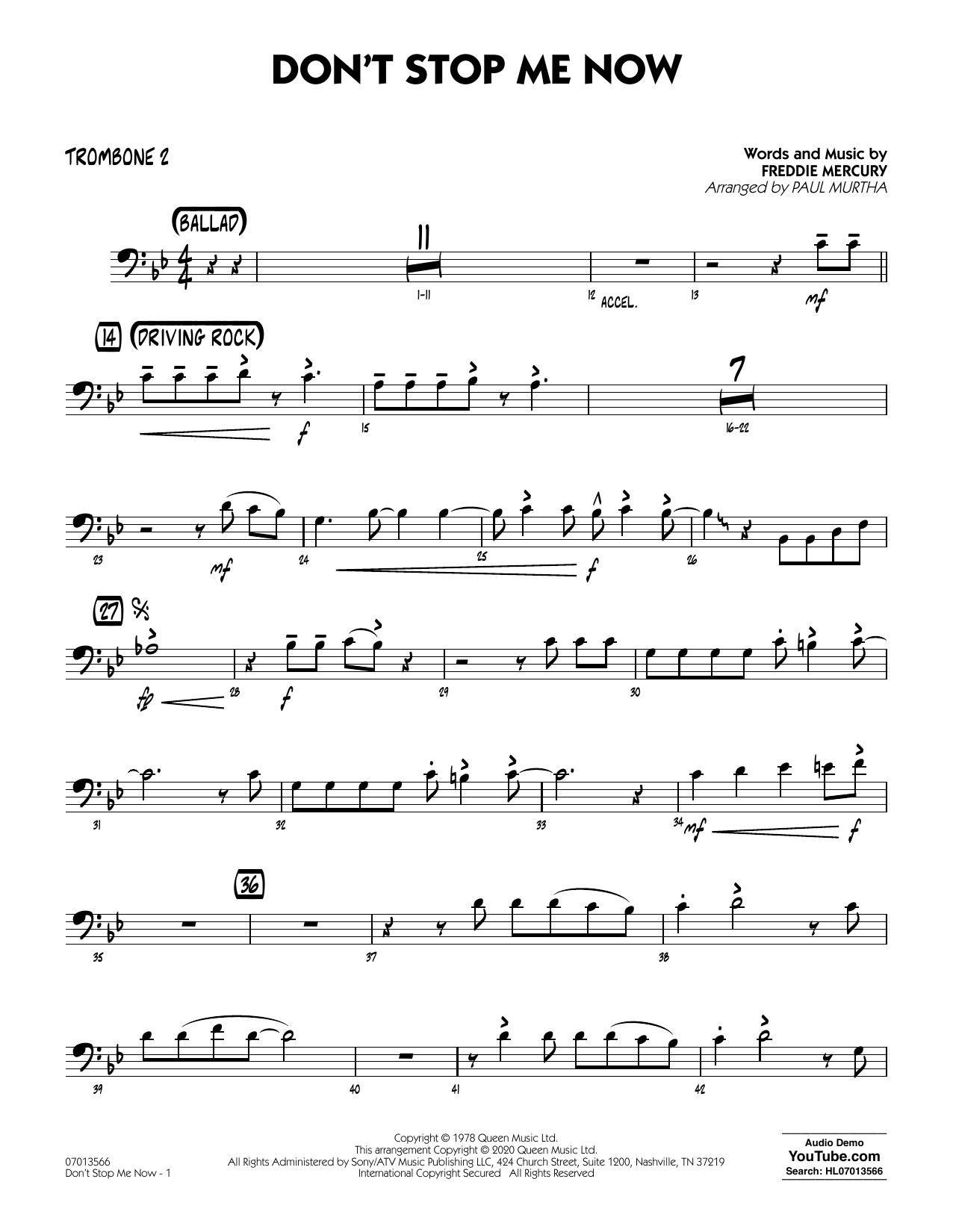 Don't Stop Me Now (arr. Paul Murtha) - Trombone 2 (Jazz Ensemble)