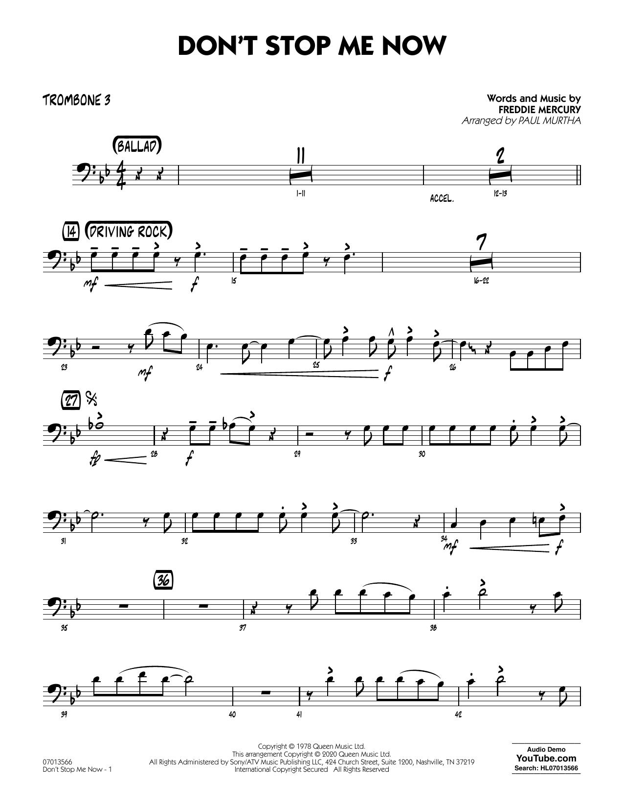 Don't Stop Me Now (arr. Paul Murtha) - Trombone 3 (Jazz Ensemble)