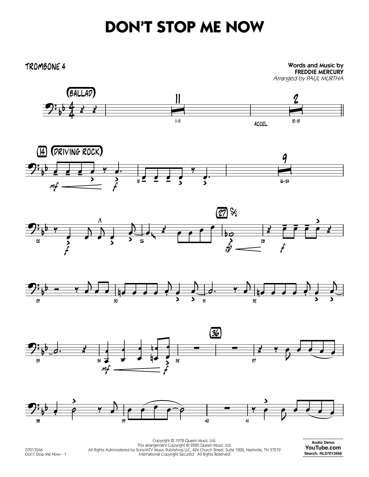 Don't Stop Me Now (arr. Paul Murtha) - Trombone 4 (Jazz Ensemble)