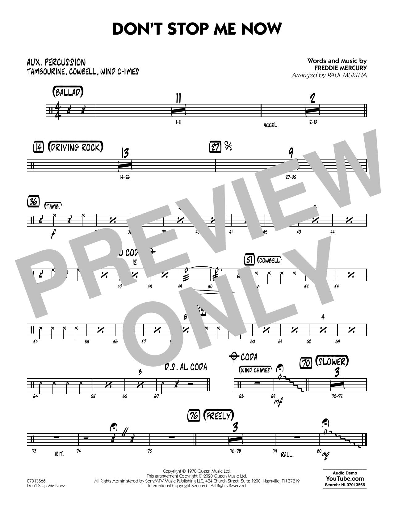 Don't Stop Me Now (arr. Paul Murtha) - Aux Percussion (Jazz Ensemble)