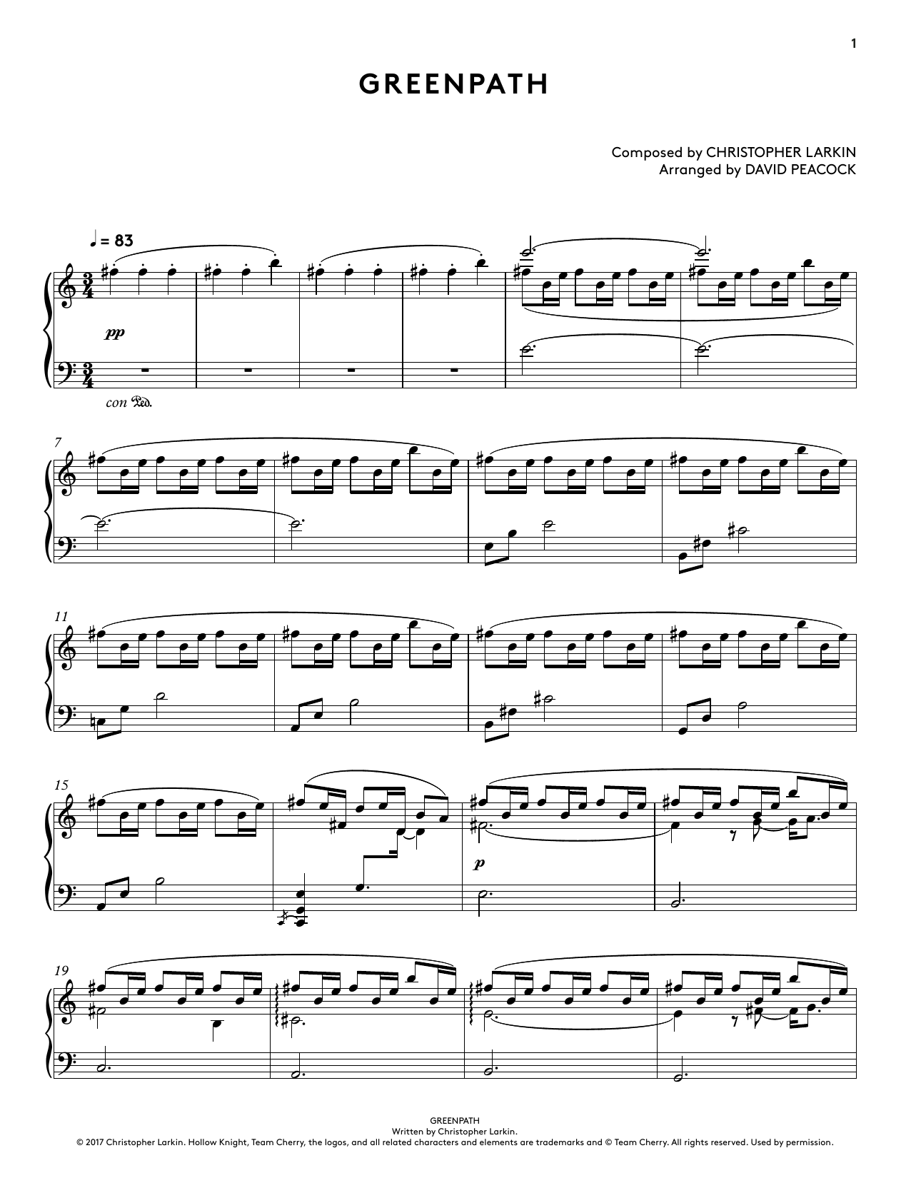 Greenpath (from Hollow Knight Piano Collections) (arr. David Peacock) (Piano Solo)